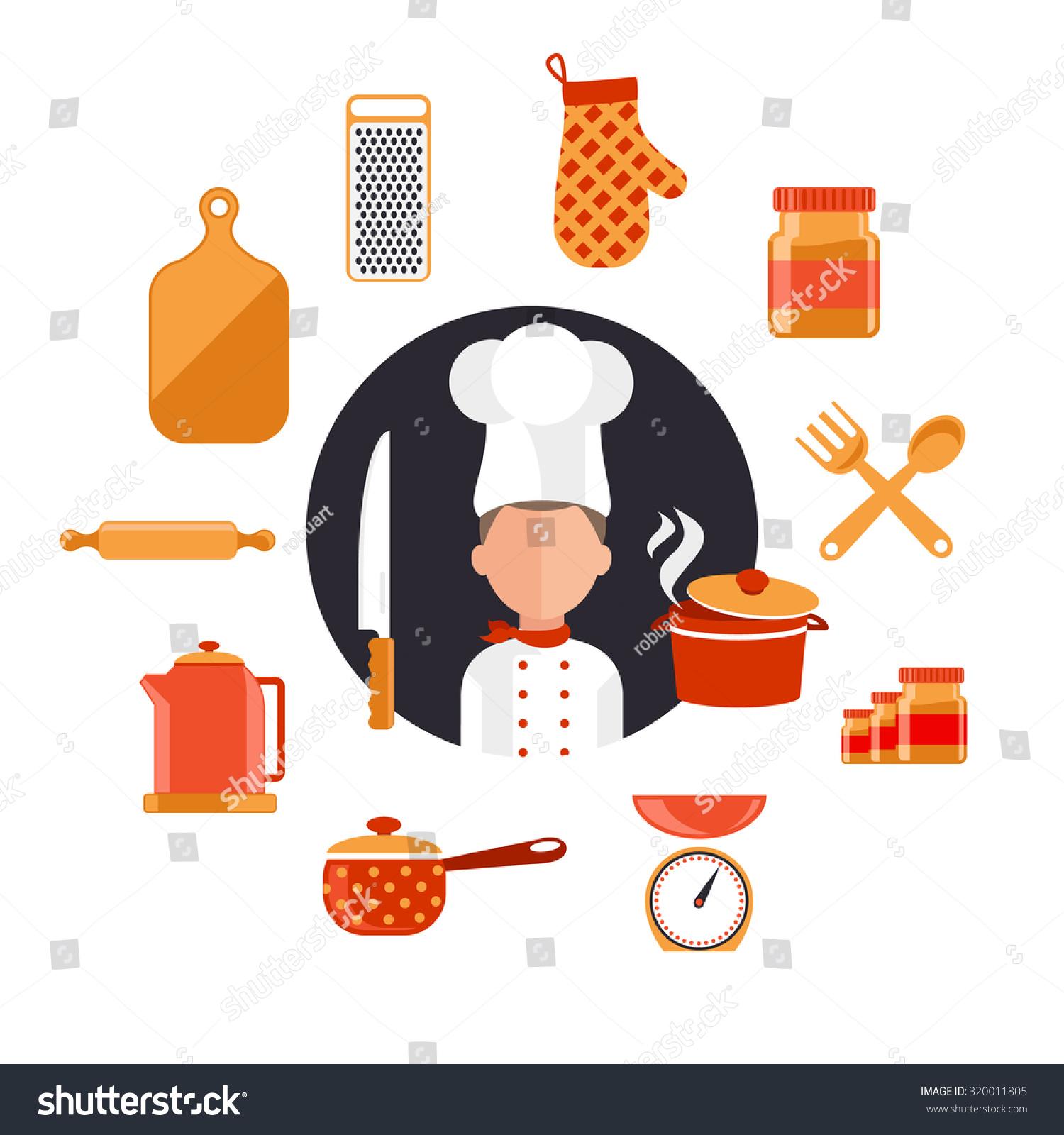 flat design icons kitchen utensils chef stock illustration