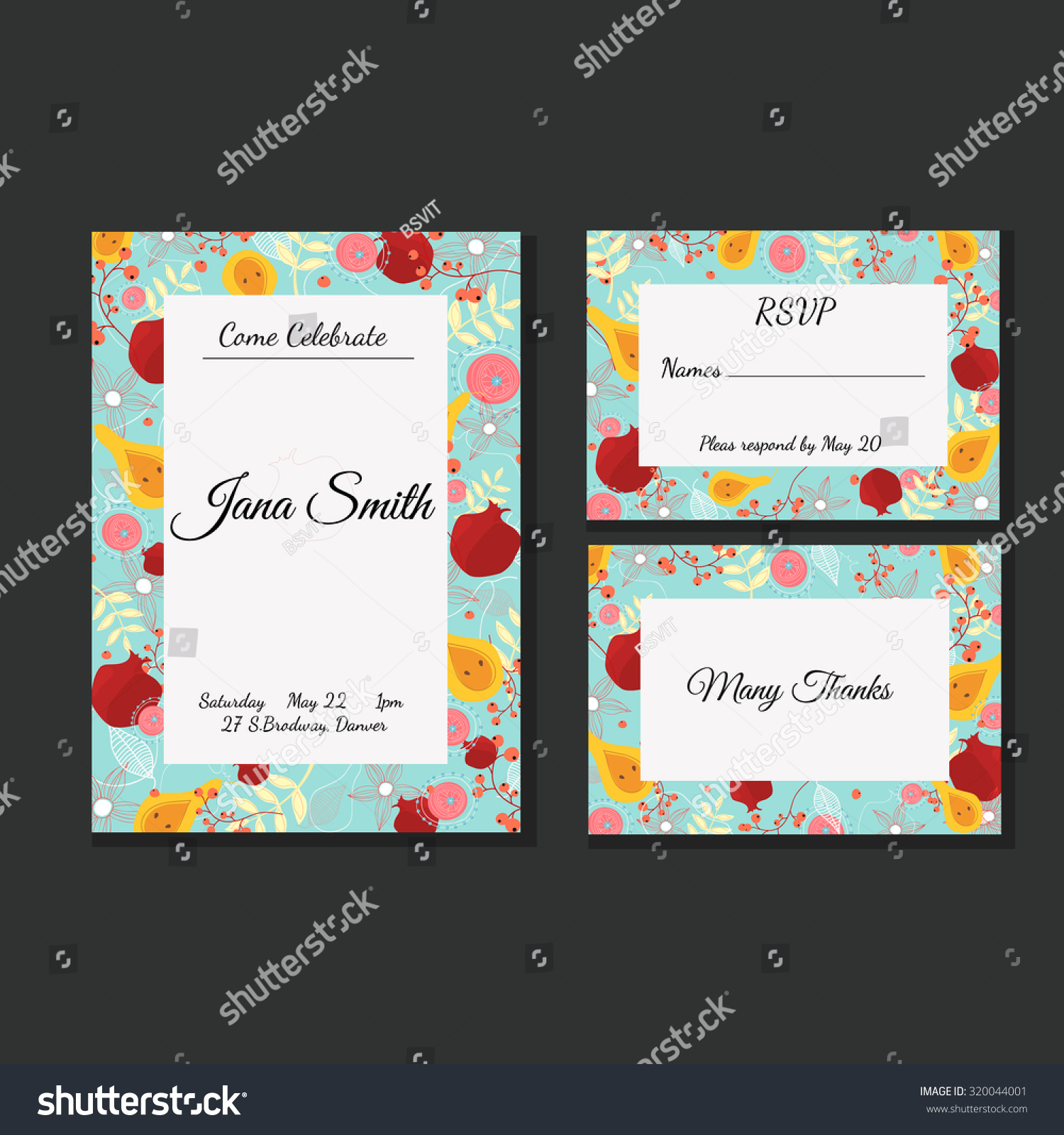 Set Of Birthday Party Invitations With Flowerpomegranate And PearInvitation Or Save The Date RSVP Thank You Card For Design Vector Isolated