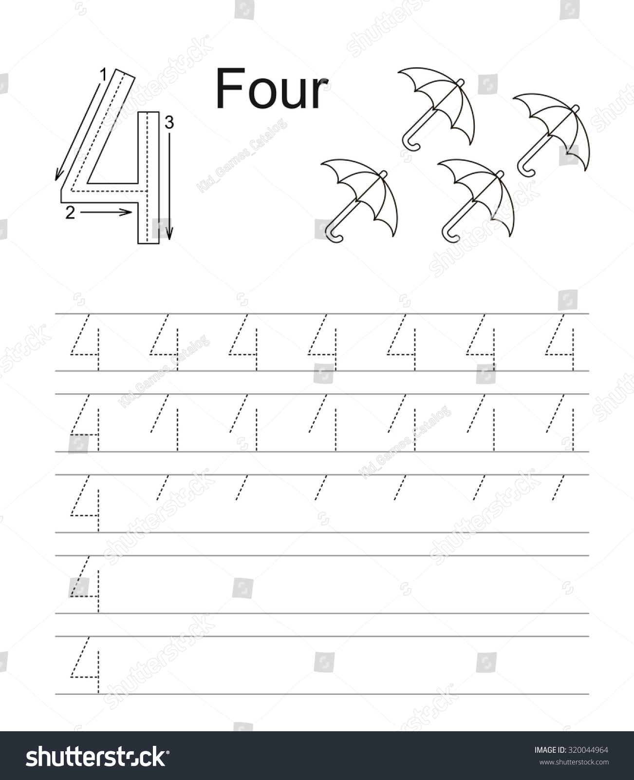 vector exercise illustrated alphabet learn handwriting tracing worksheet for figure 4 four. Black Bedroom Furniture Sets. Home Design Ideas