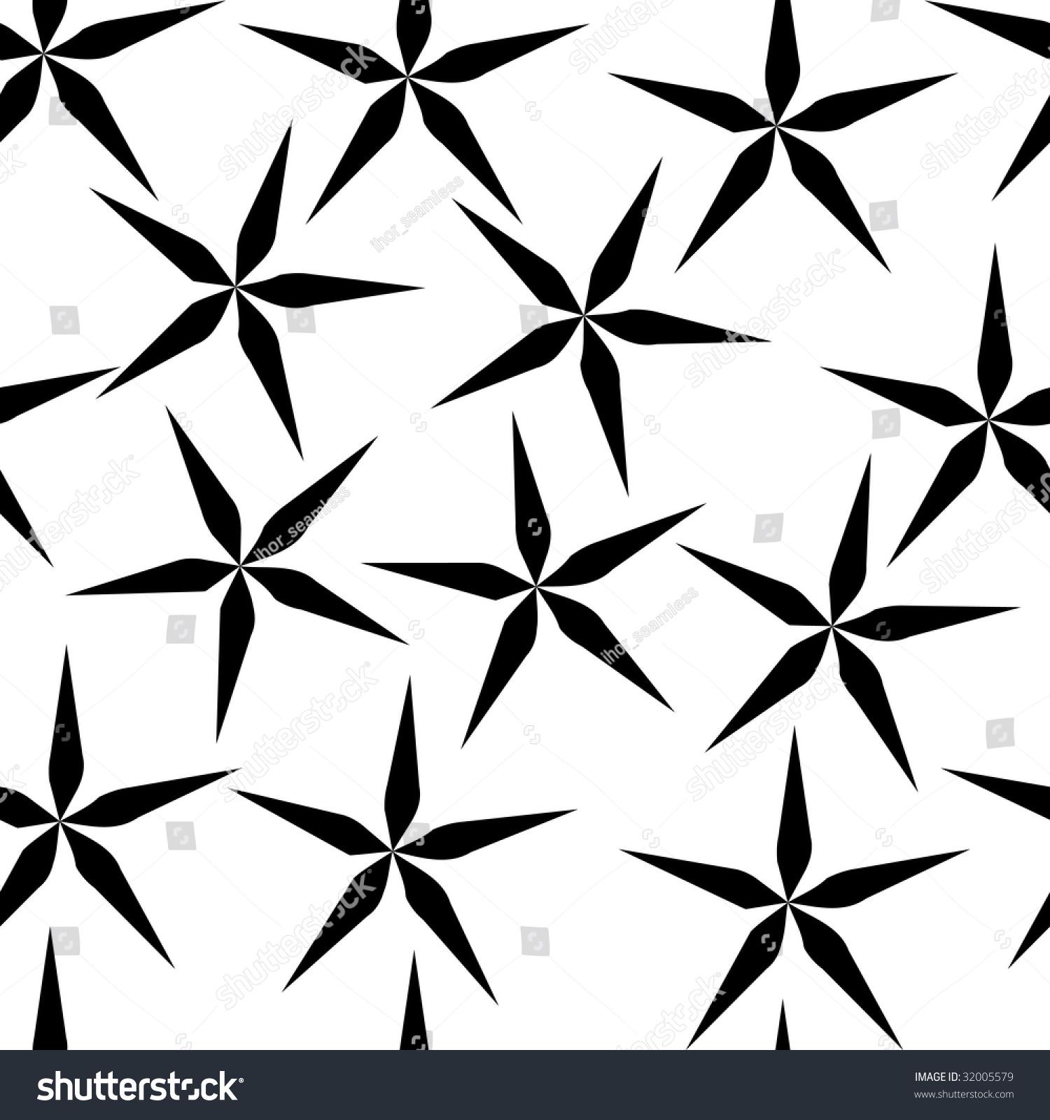 Seamless Simple Black White Repeating Flower Stock Illustration