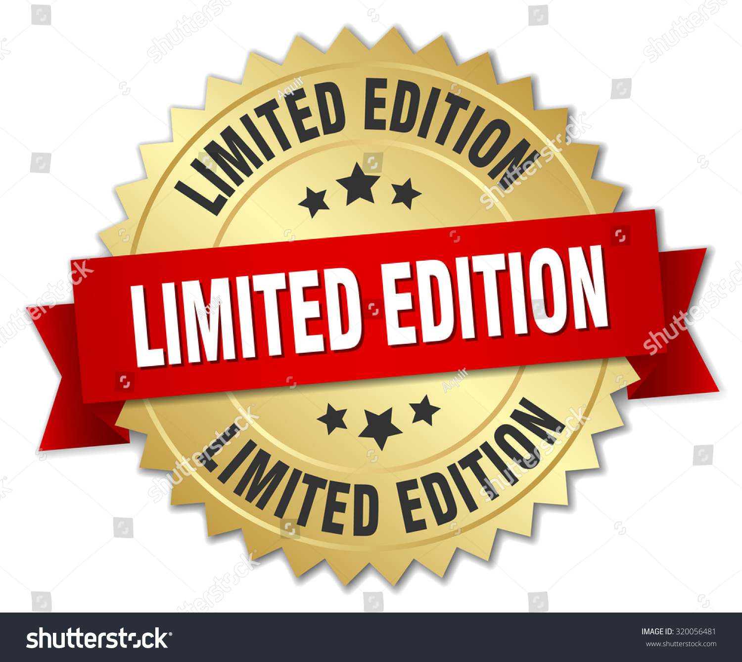 limited edition 3 d gold badge red stock vector royalty free