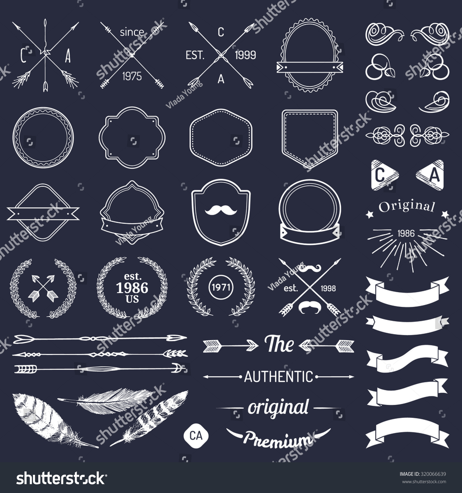 Vintage Hipster Logo Elements Arrows Ribbons Stock Vector ...