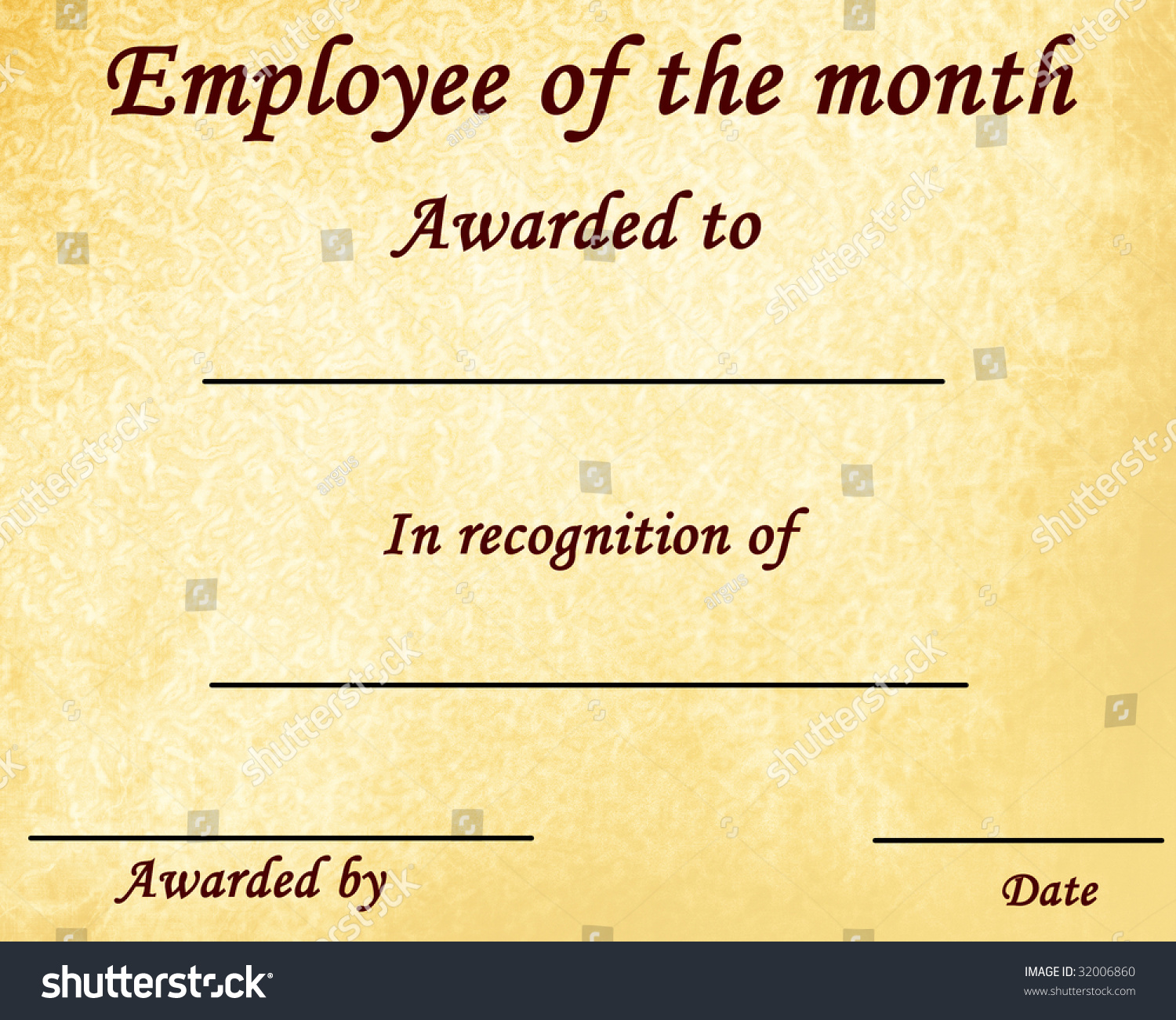 employee month certificate some stains stock illustration 32006860