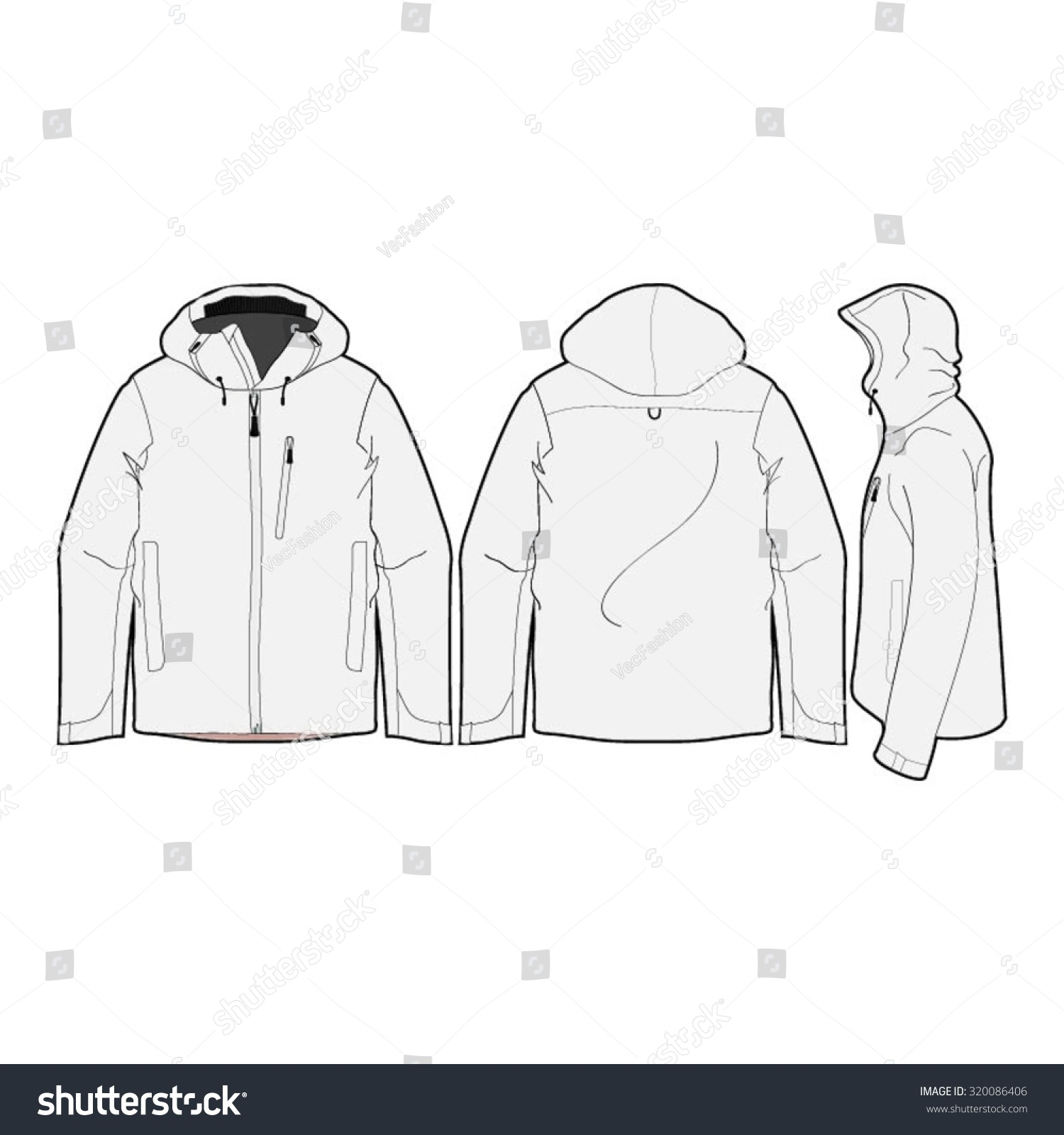fb1b818f17 Outdoor Climbing Jacket Template 스톡 벡터(사용료 없음) 320086406 ...