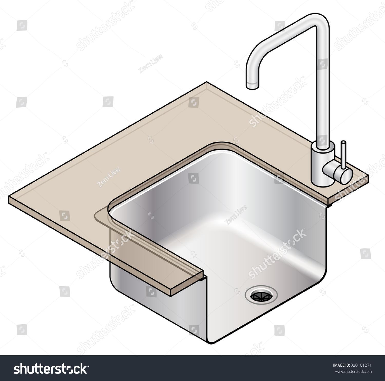 Diagram Showing Undermount Installation Kitchen Sink Stock Vector Under Mount Of A