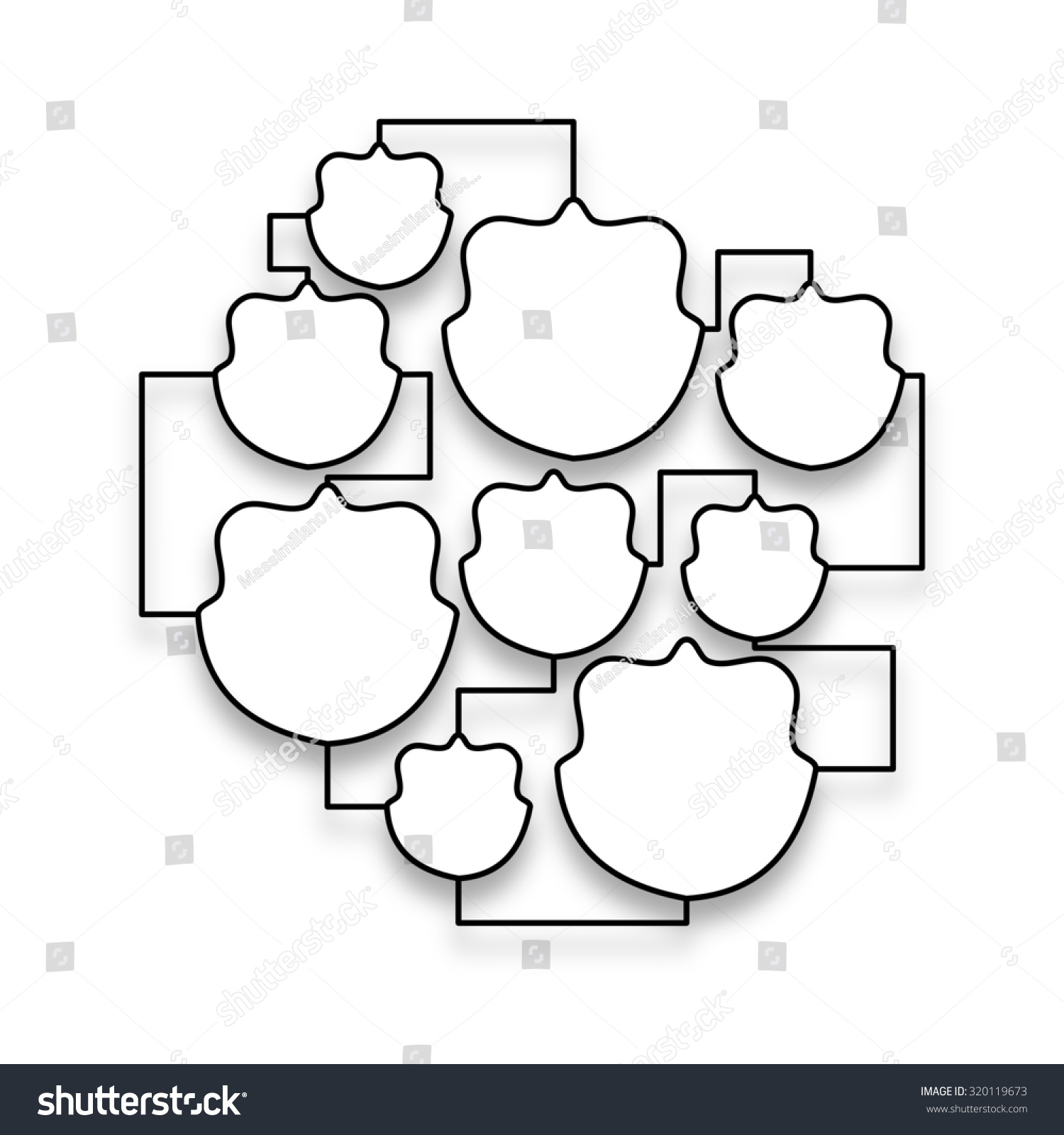 multiple empty picture frames. Badge Multiple Empty Frames Linked Together On White Background Picture L