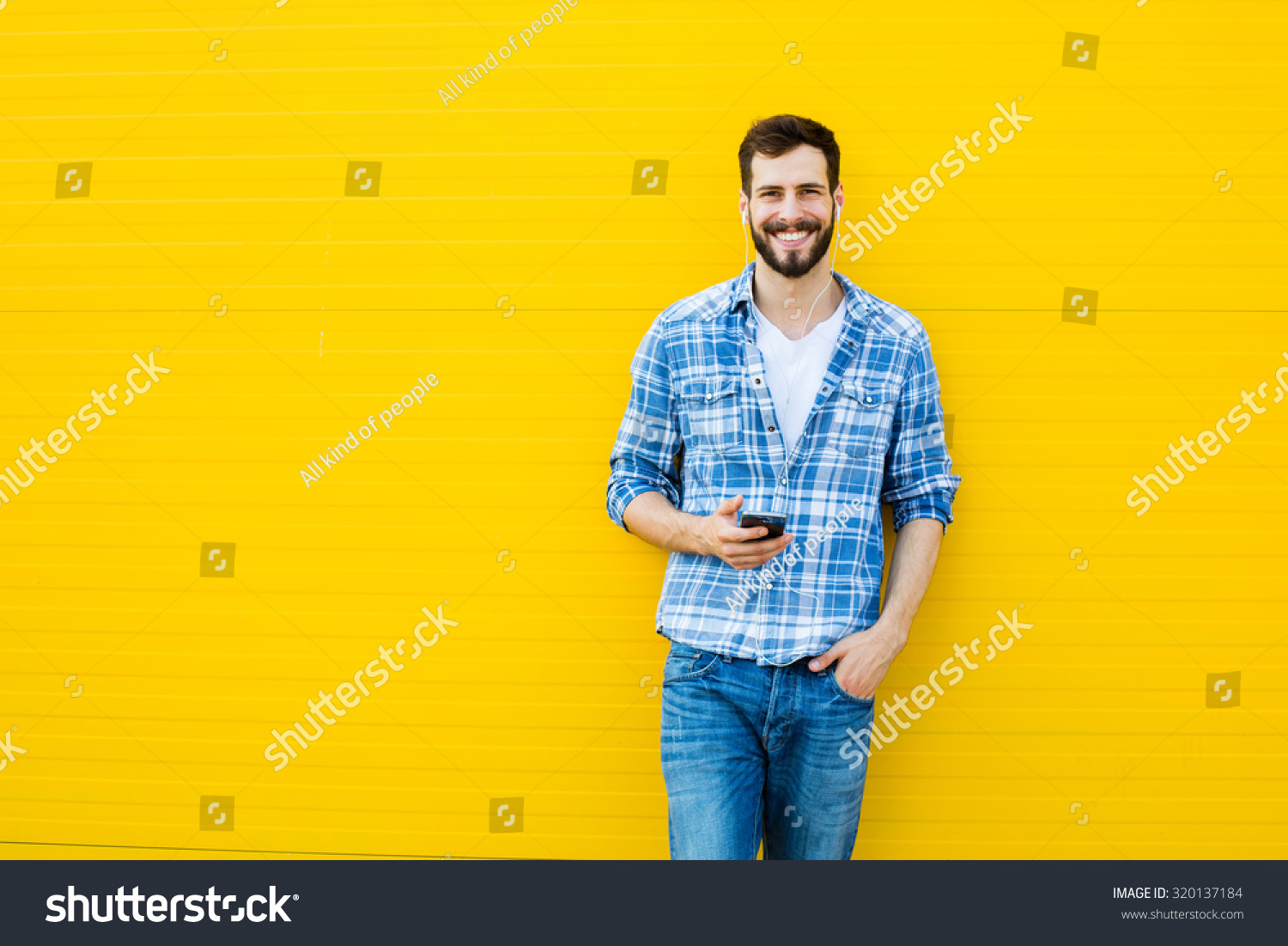 Young Happy Man Casual Dressed Headphones Stock Photo Edit