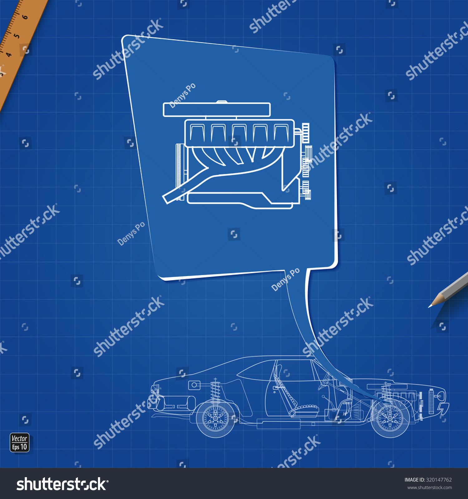 Car Engine Symbol Drawing Blueprint Stock Vector 320147762   Shutterstock