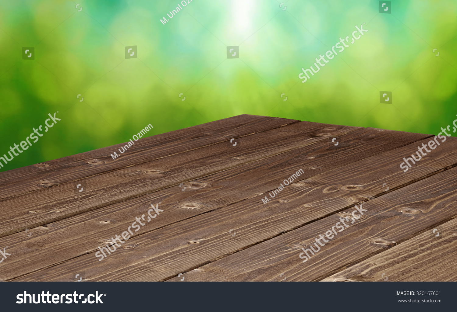 Background image table - Perspective View Of Log Table Corner On Green Background With Copyspace