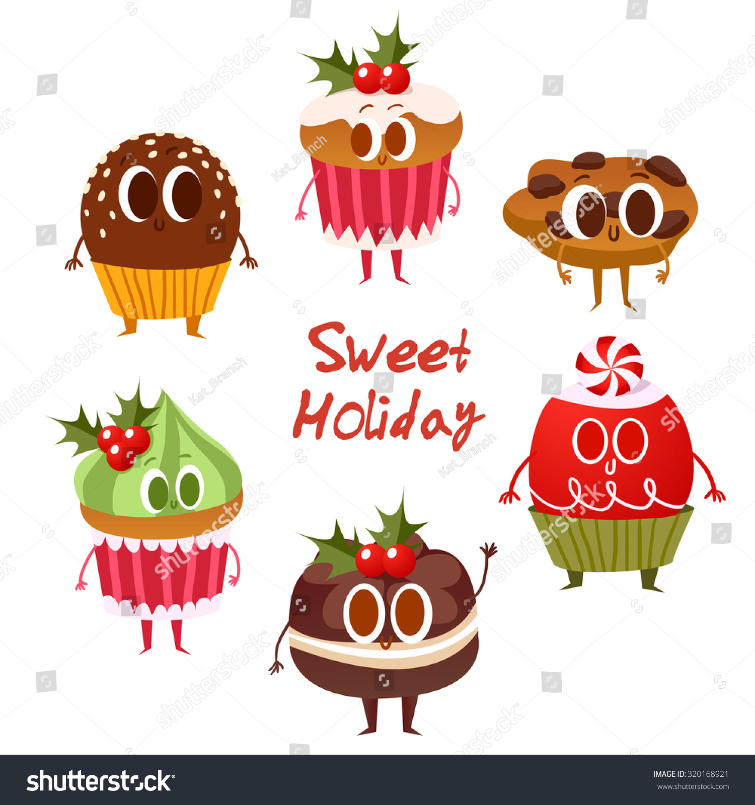 Big Set Cute Christmas Cookies Isolated Stock Vector (Royalty Free ...