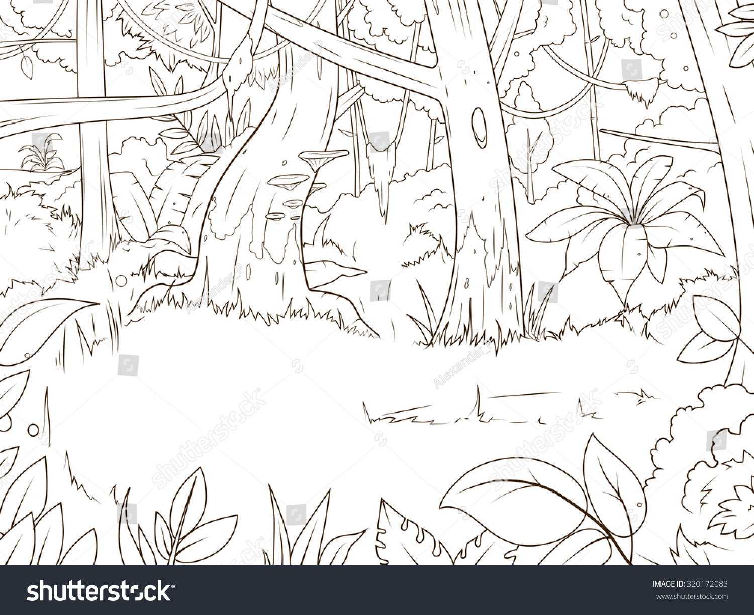 Jungle Forest Cartoon Coloring Book Vector Stock Vector 320172083