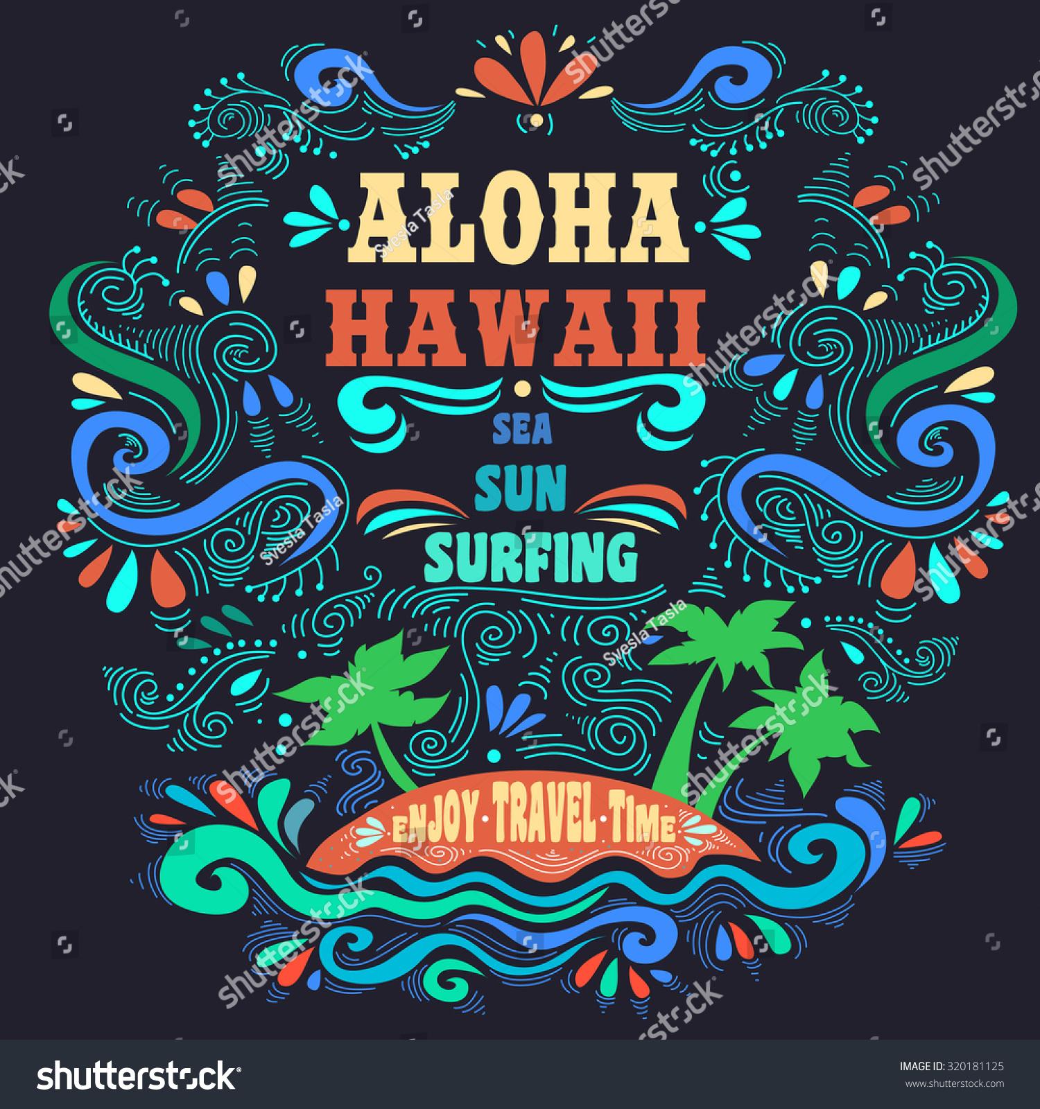 Typography Art Ethnic Typography Poster Aloha Stock Vector