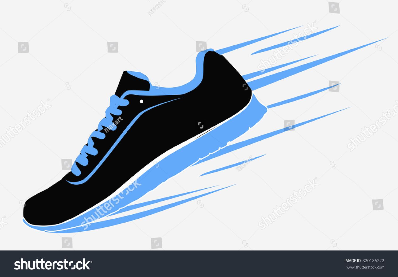 speeding running shoe sneaker sports shoe stock vector 320186222 rh shutterstock com running shoe sole vector running shoe silhouette vector