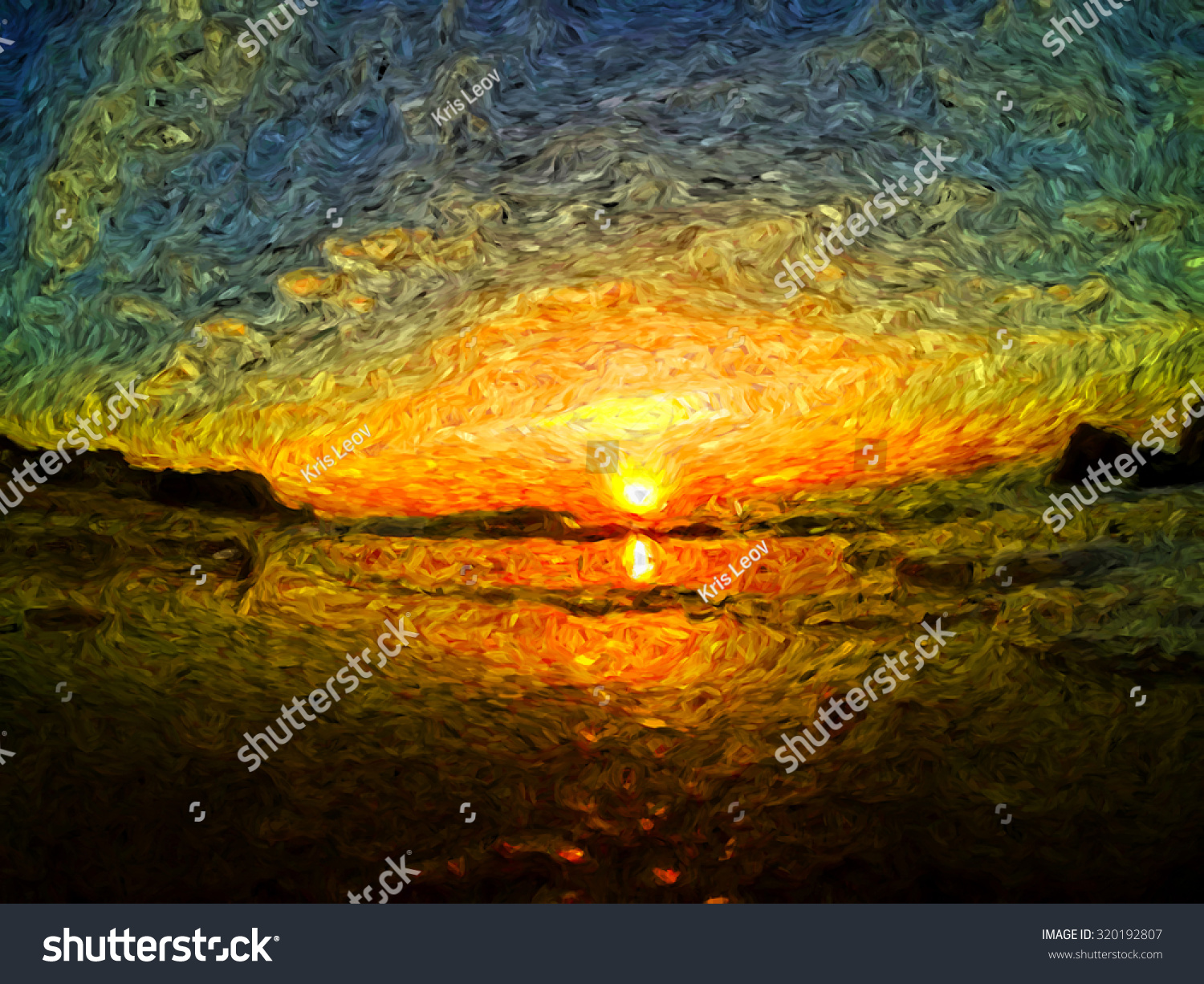 landscape sunset drawing. sea sunrise or sunset clouds and waves impressionism oil painting brush drawing landscape