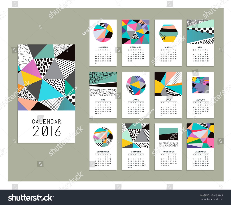 Calendar Templates Graphic Design : Calendar templates geometric backgrounds vector stock vector