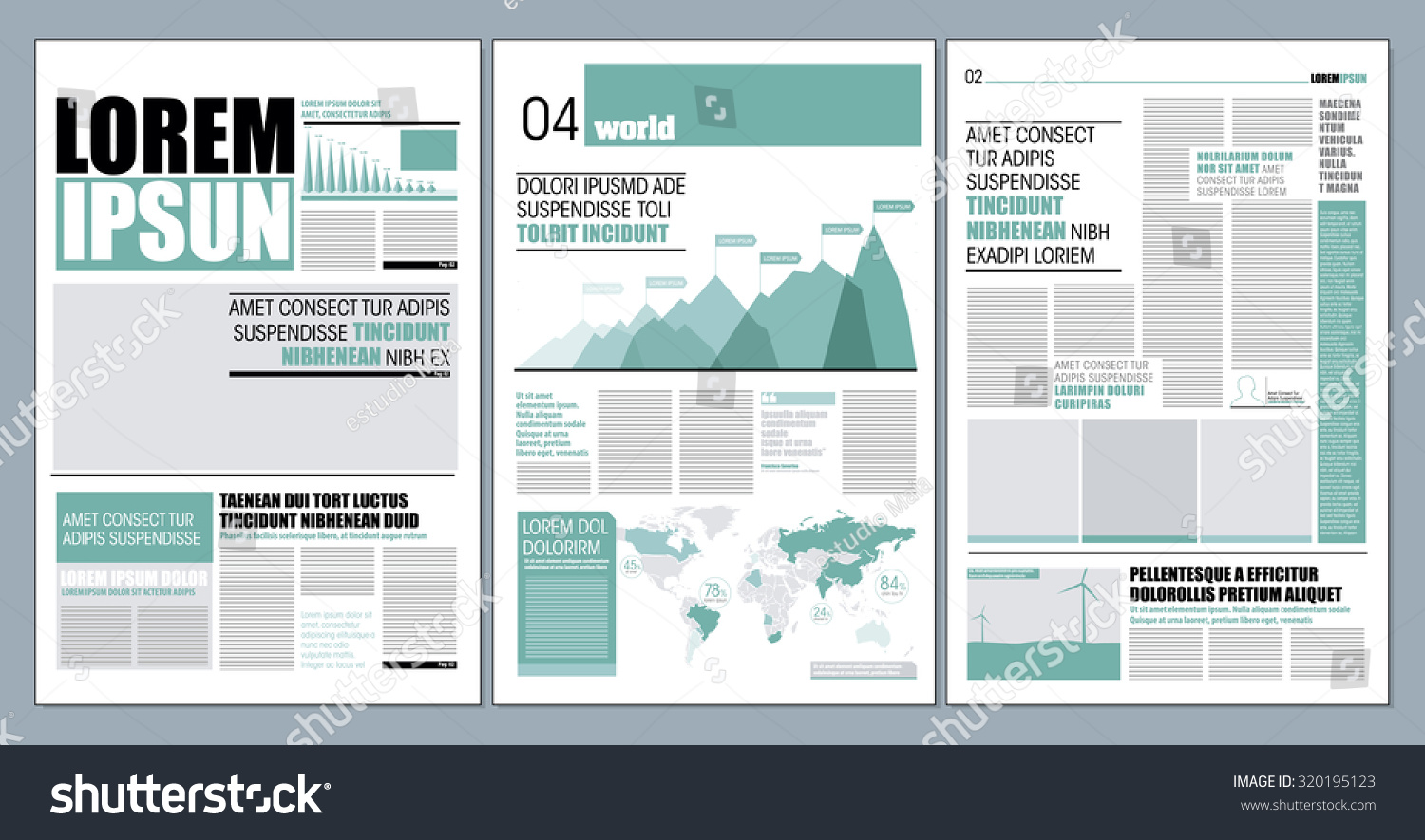 Graphical Layout Modern Green Newspaper Template Vector – Newspaper Layout Template