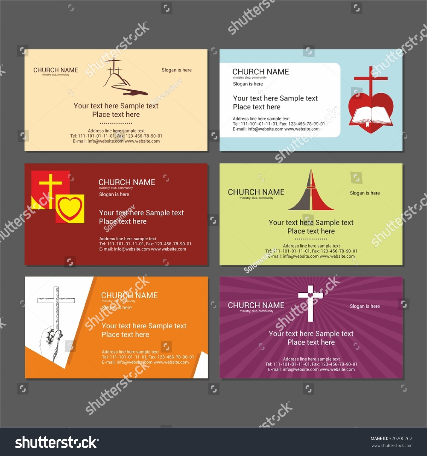 Set Christian Business Cards Church Ministry Stock Vector (2018 ...