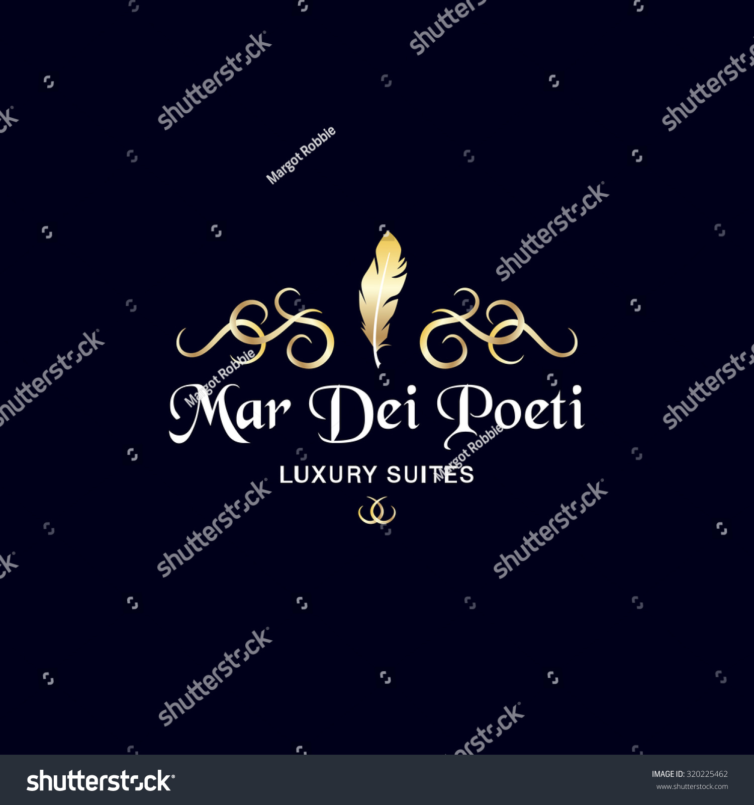 Luxury Suites Logo Vintage Golden Decoration Stock Vector 320225462