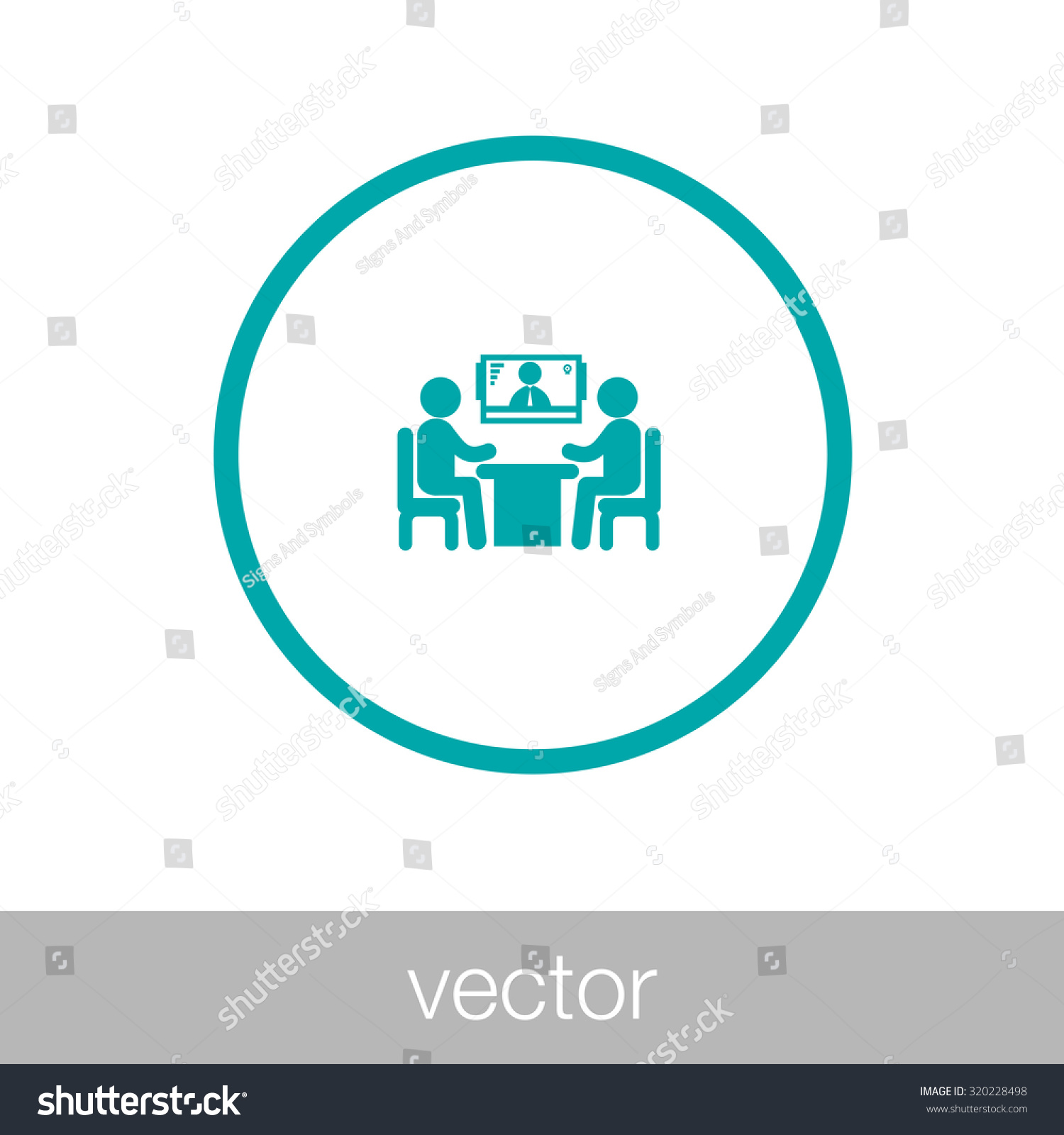 royalty online interview video conference 320228498 online interview video conference online meeting two human figures sitting around the table talking a human figure in the screen at the