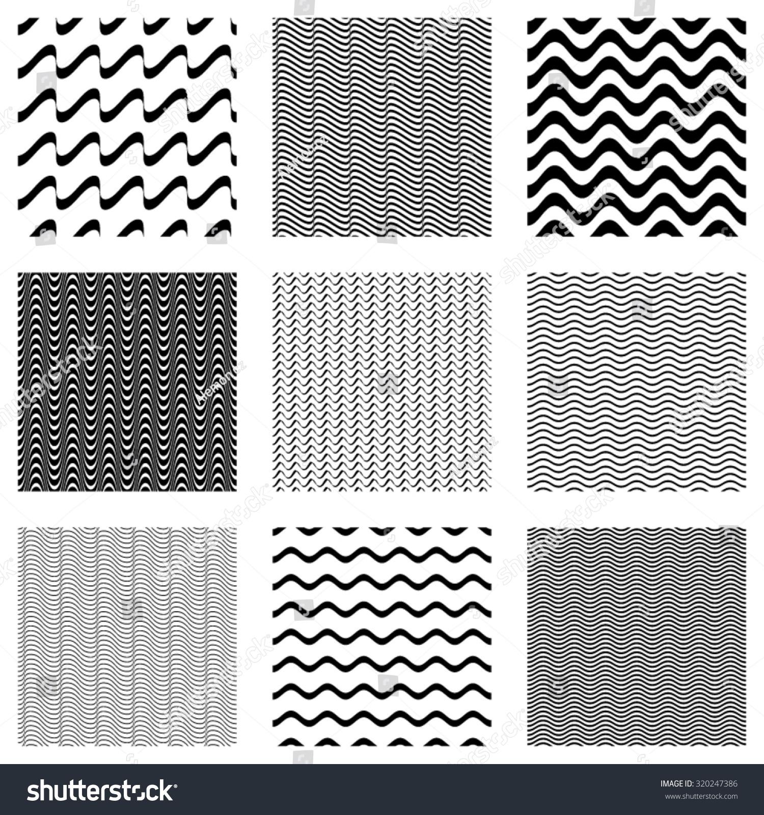 Simple Line Designs Patterns : Black vector simple seamless wavy line stock