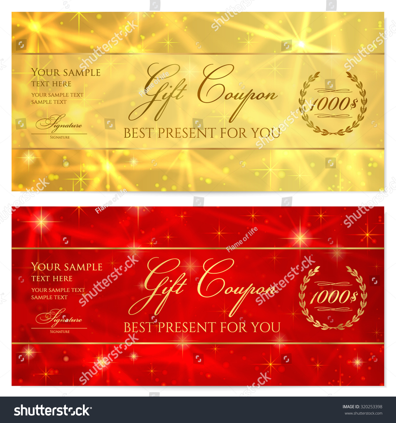 gift certificate voucher coupon reward or gift card template with sparkling twinkling - Free Gift Card Rewards