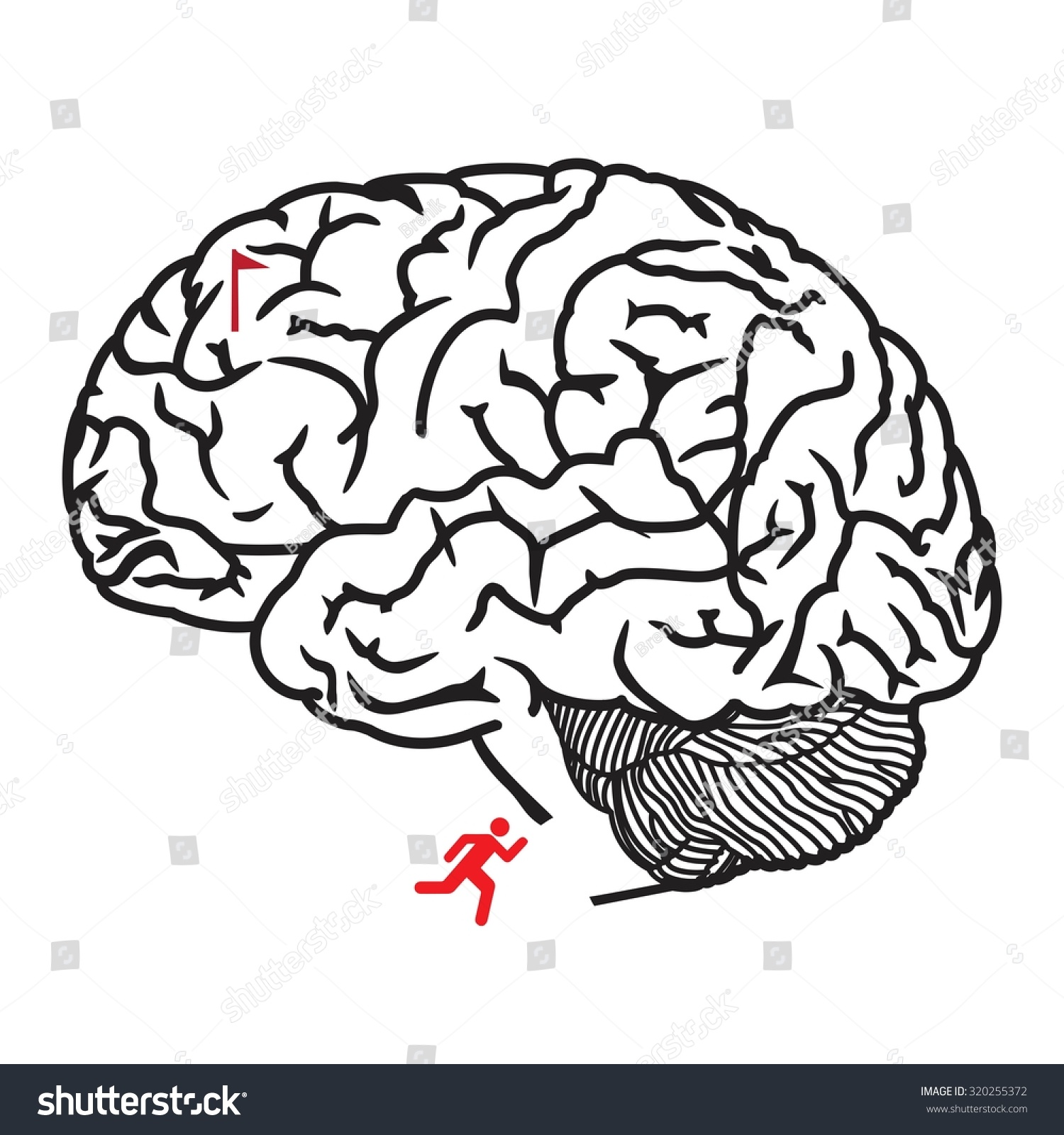 Maze Children Human Brain Vector Illustration Stock Vector