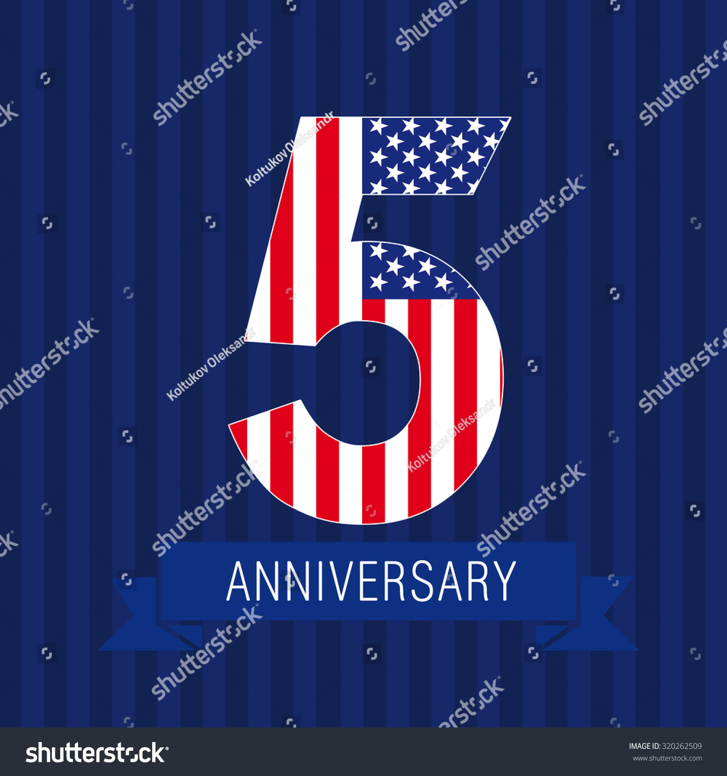 anniversary 5 us flag logo template stock vector 320262509
