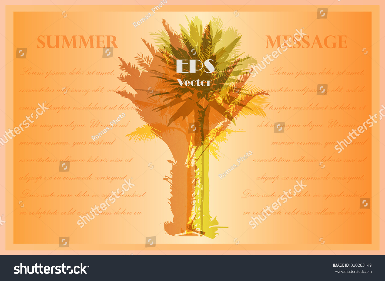 invitation template colorful background silhouette palm stock