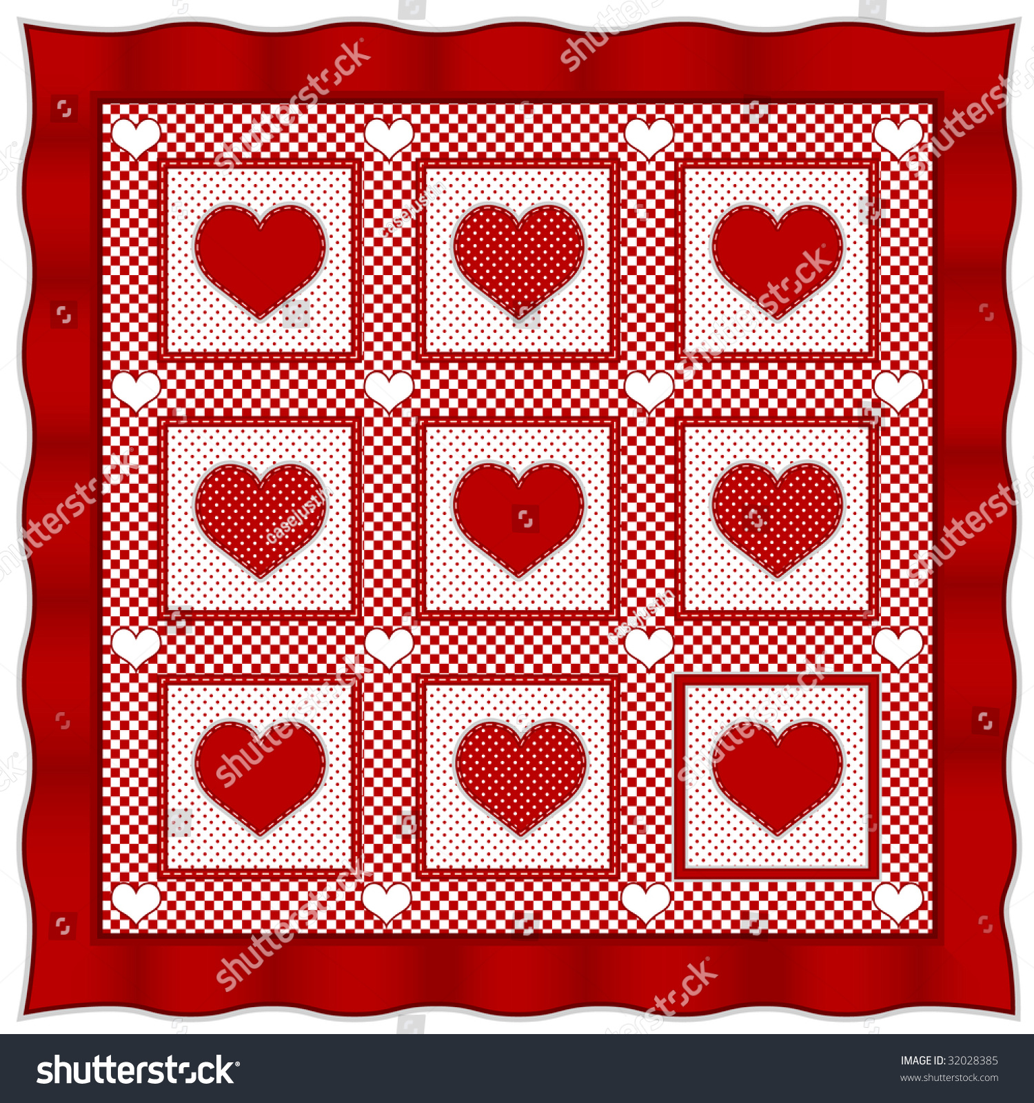 Quilt heart of hearts design pattern old fashioned for Red door design quilts