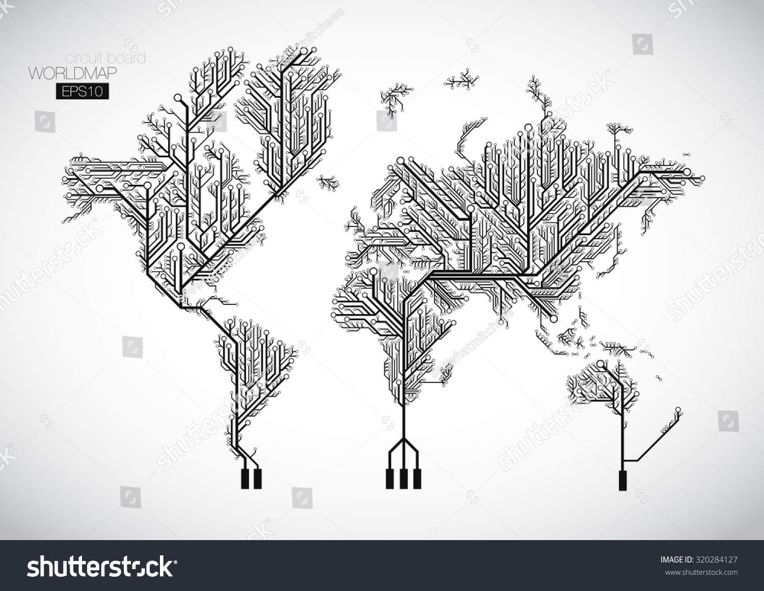 World Map Connected By Circuit Board Stock Vector 320284127