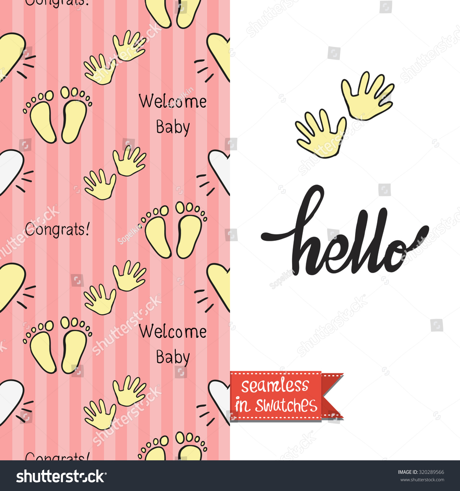 Double Sided Vintage Greeting Card Newborn Stock Vector 320289566