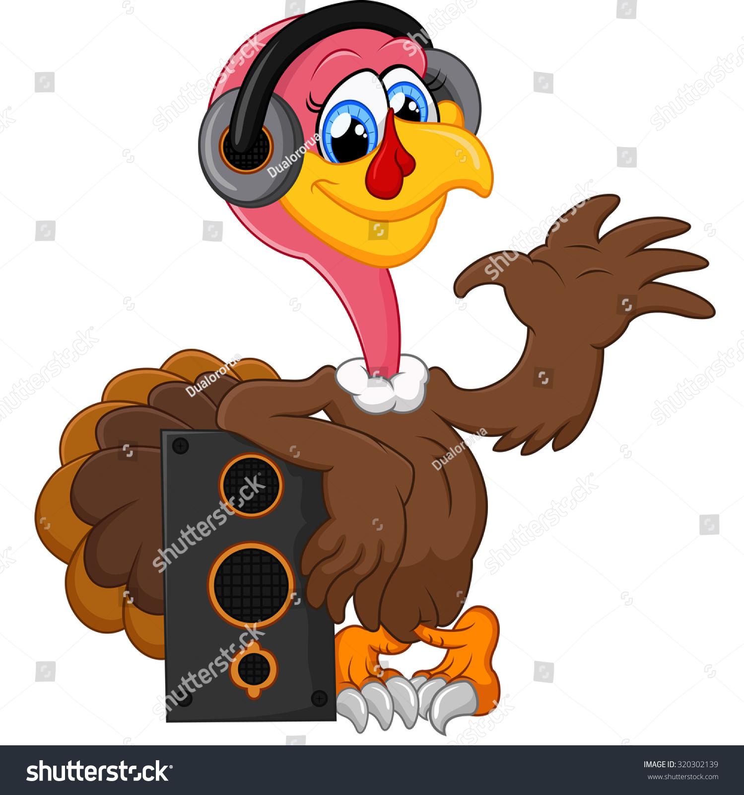 cute turkey cartoon listen music stock vector 320302139 shutterstock