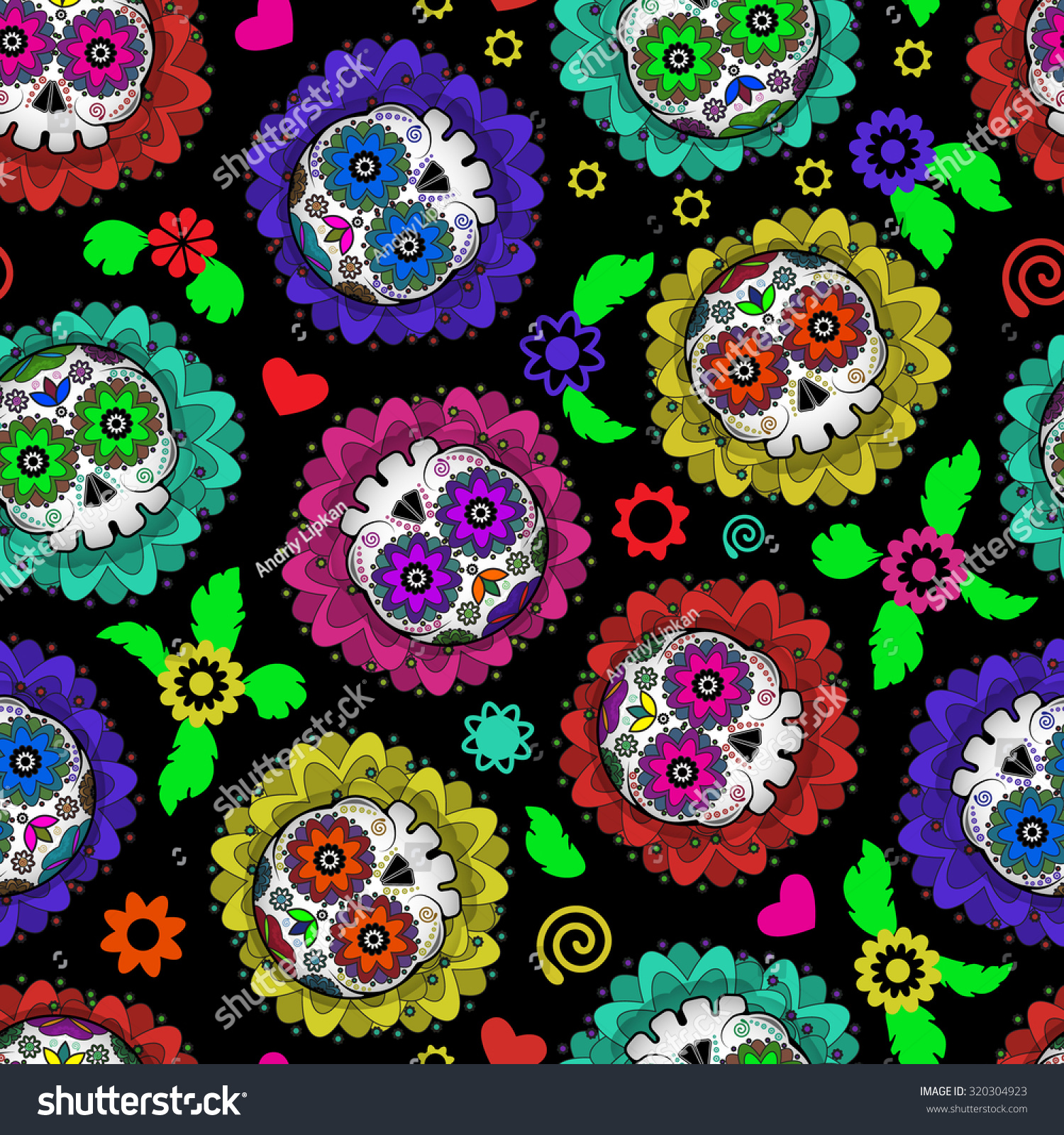 Day Od Dead Mexico Seamless Pattern Stock Vector Royalty Free