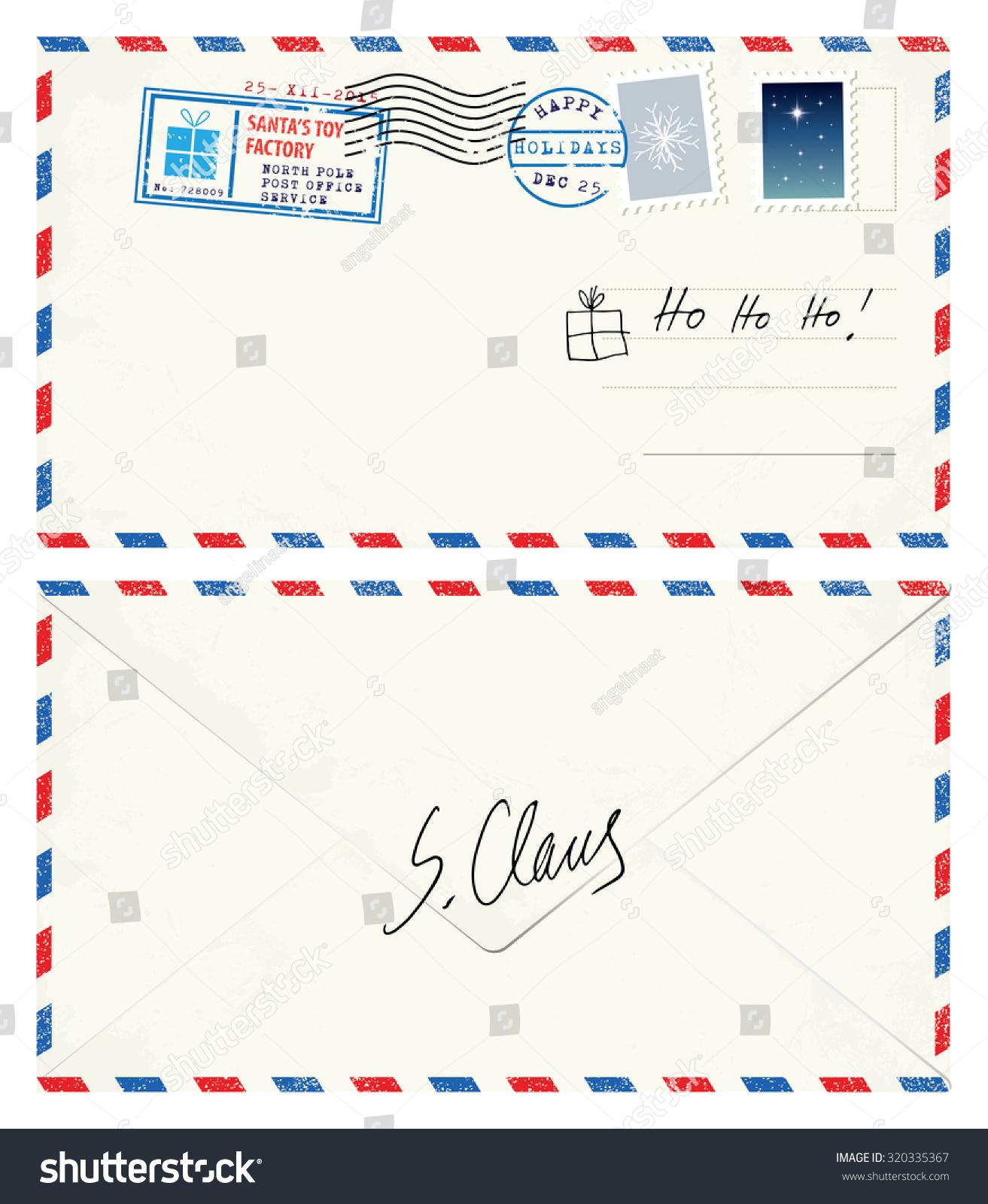 postcard letter santa stock vector 320335367 shutterstock