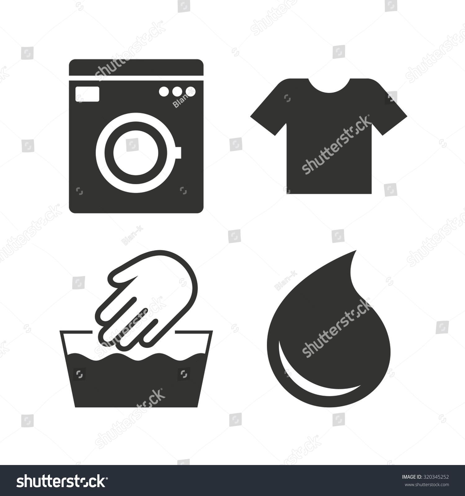 Clothes Wash Signs: Wash Machine Icon Hand Wash Tshirt Stock Vector 320345252