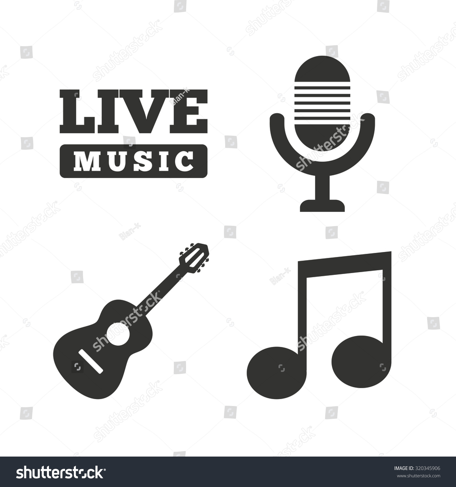 Musical elements icons microphone live music stock vector musical elements icons microphone and live music symbols music note and acoustic guitar signs biocorpaavc