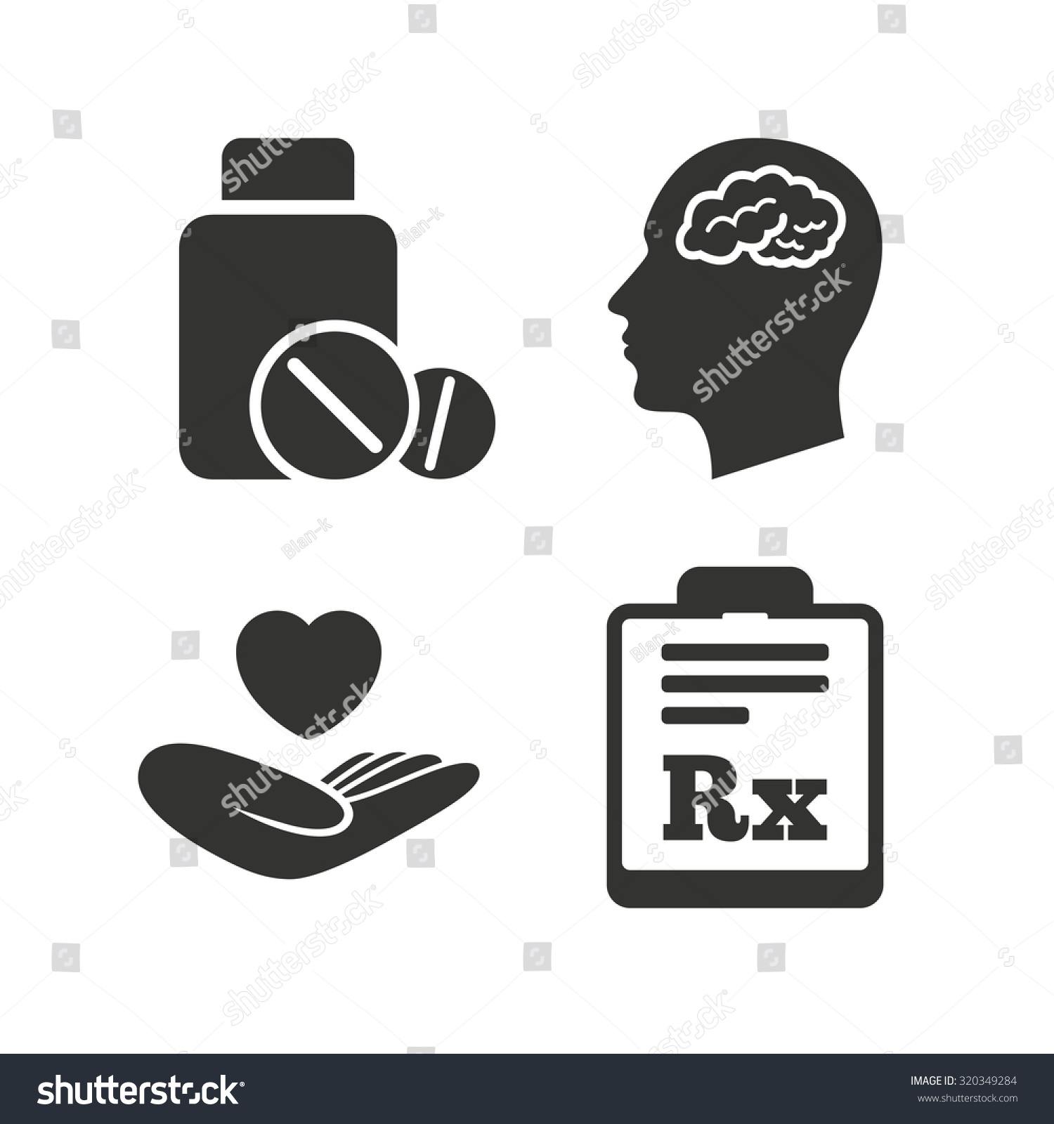 Medicine Icons Medical Tablets Bottle Head Stock Vector Royalty