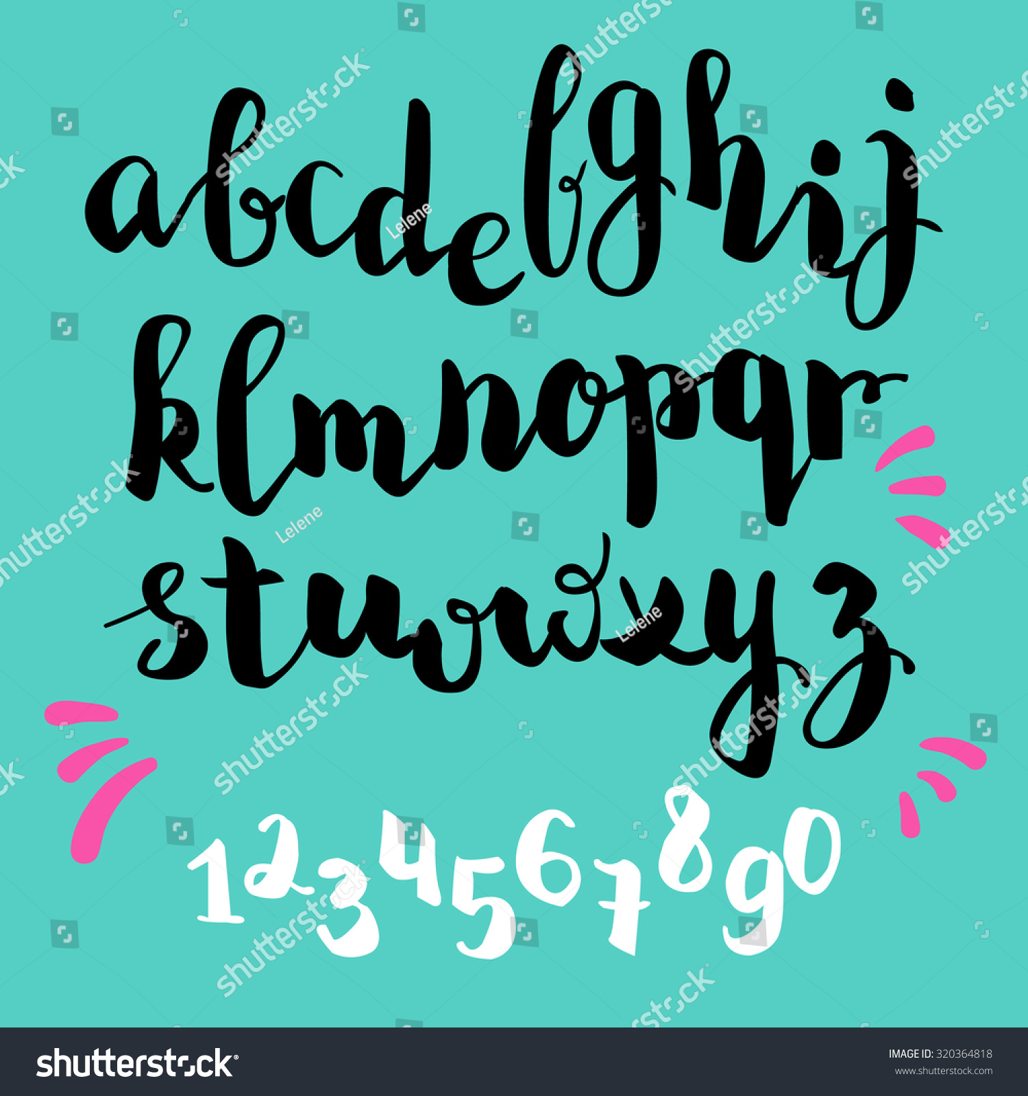 ... pen style vector alphabet calligraphy lowercase letters and figures