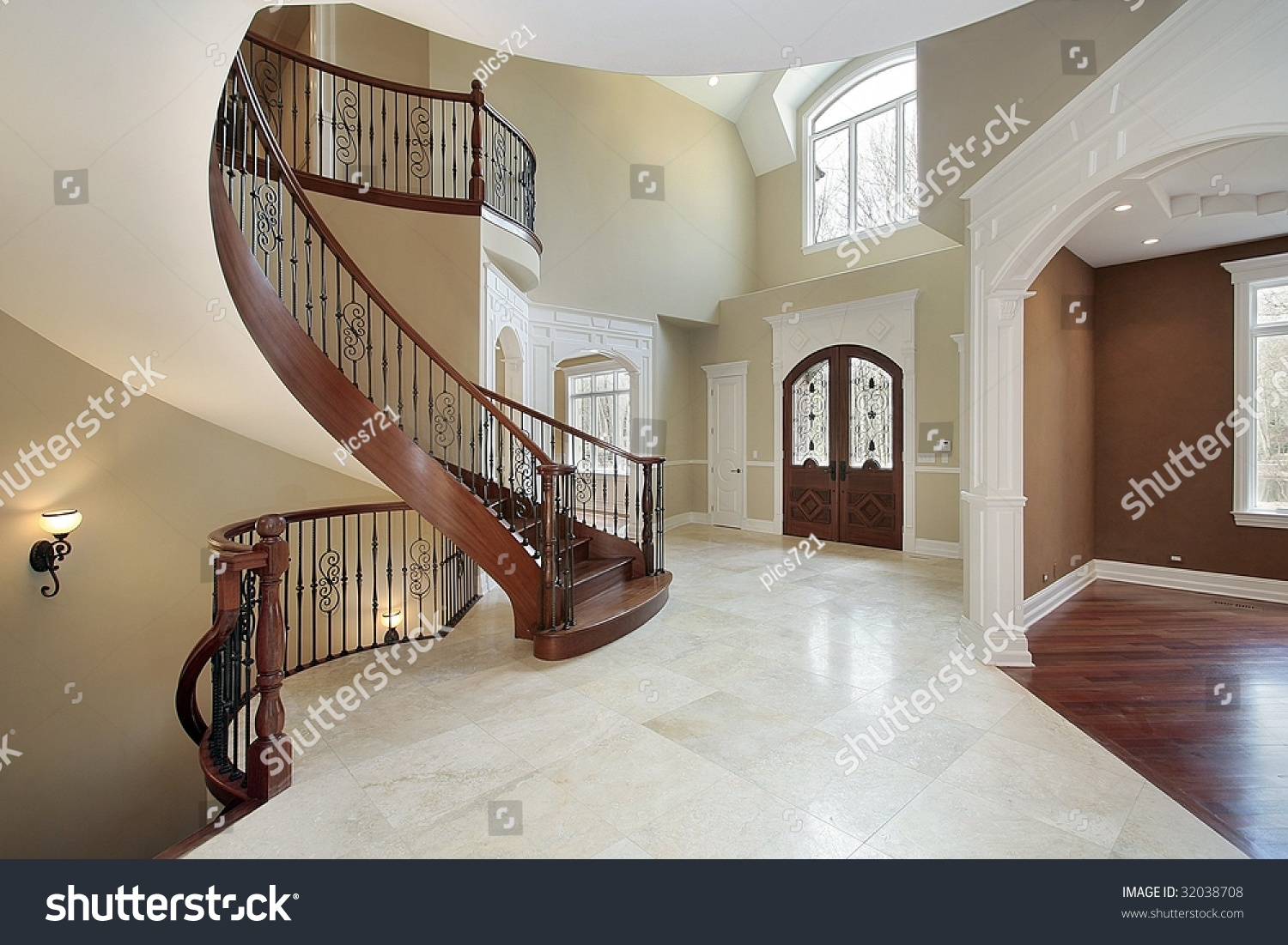 Foyer Curved Staircase : Foyer with curved staircase stock photo