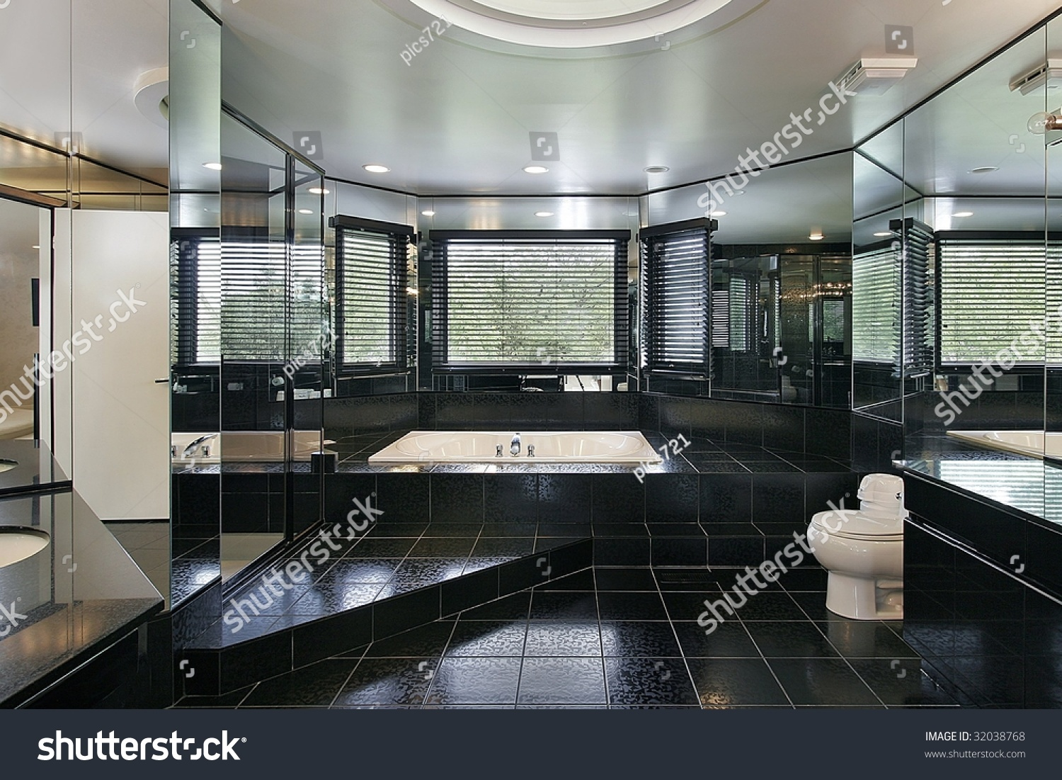 Master bath with black tile stock photo 32038768 for Master bathroom black