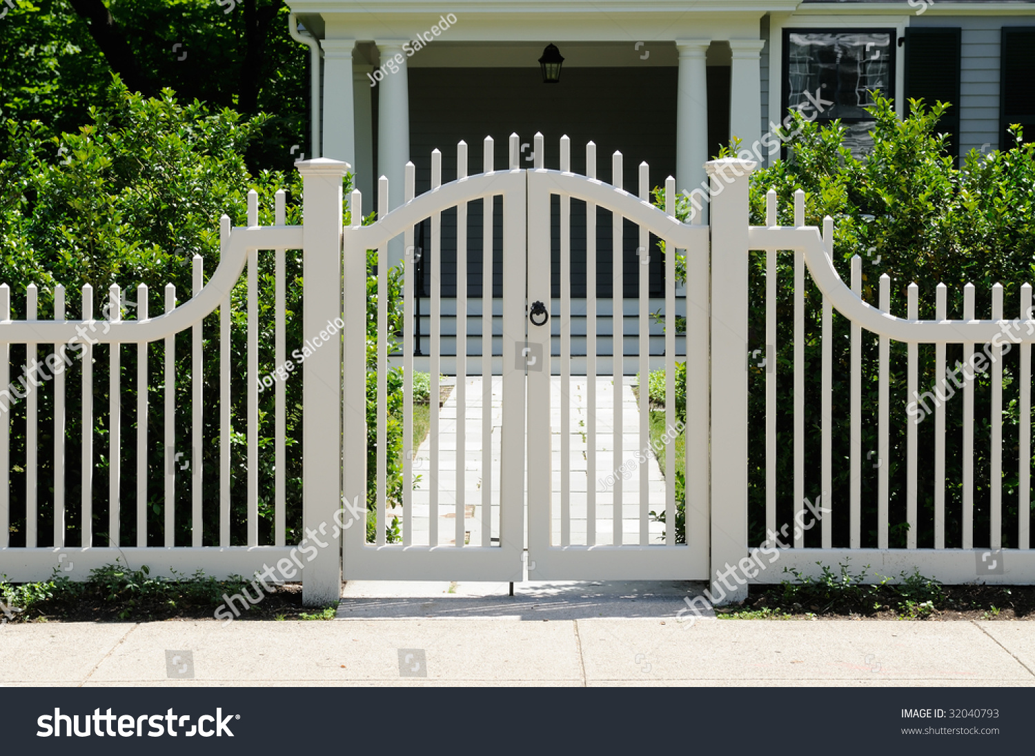 White Wooden Gate Picket Fence On Stock Photo 32040793