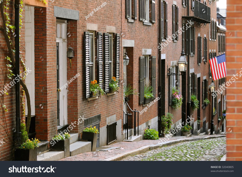 acorn street beacon hill boston brick stock photo 32040805 shutterstock. Black Bedroom Furniture Sets. Home Design Ideas