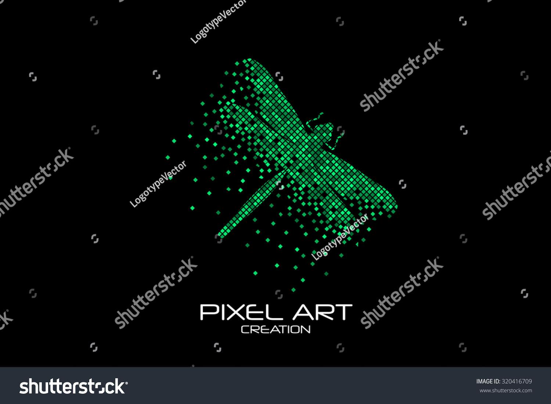 Pixel Art Design : Pixel art design of the dragon fly logo stock vector