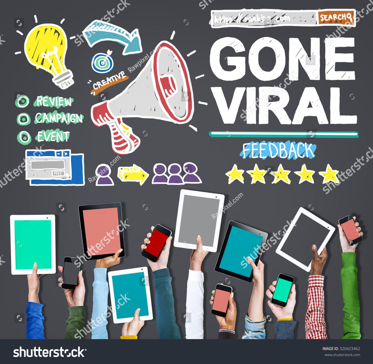 Technology Viral News: Gone Viral Popular Famous Share Post Stock Photo 320423462