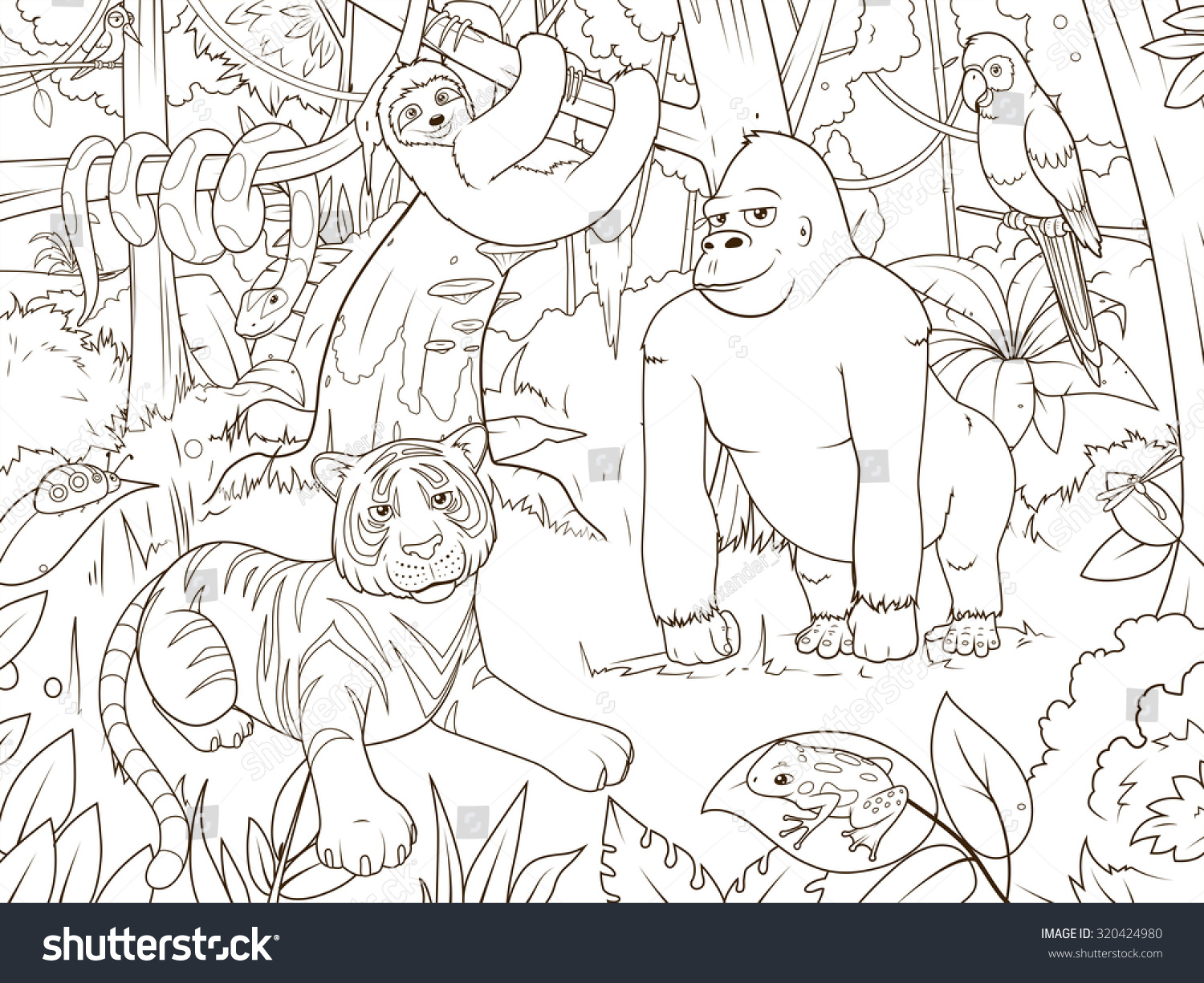 Jungle Animals Cartoon Coloring Book Vector Stock Vector 320424980