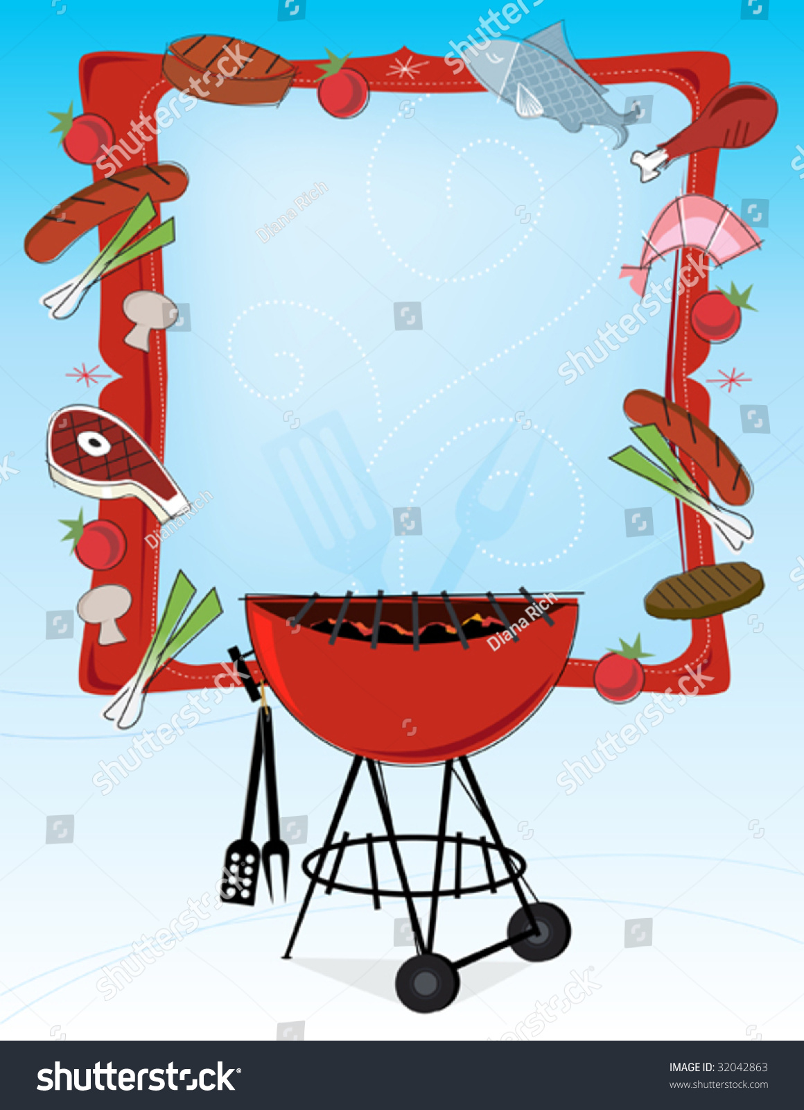 stylized grilled food icons bbq grill stock vector 32042863 shutterstock Italian Menu Border Clip Art Italian Menu Border Clip Art