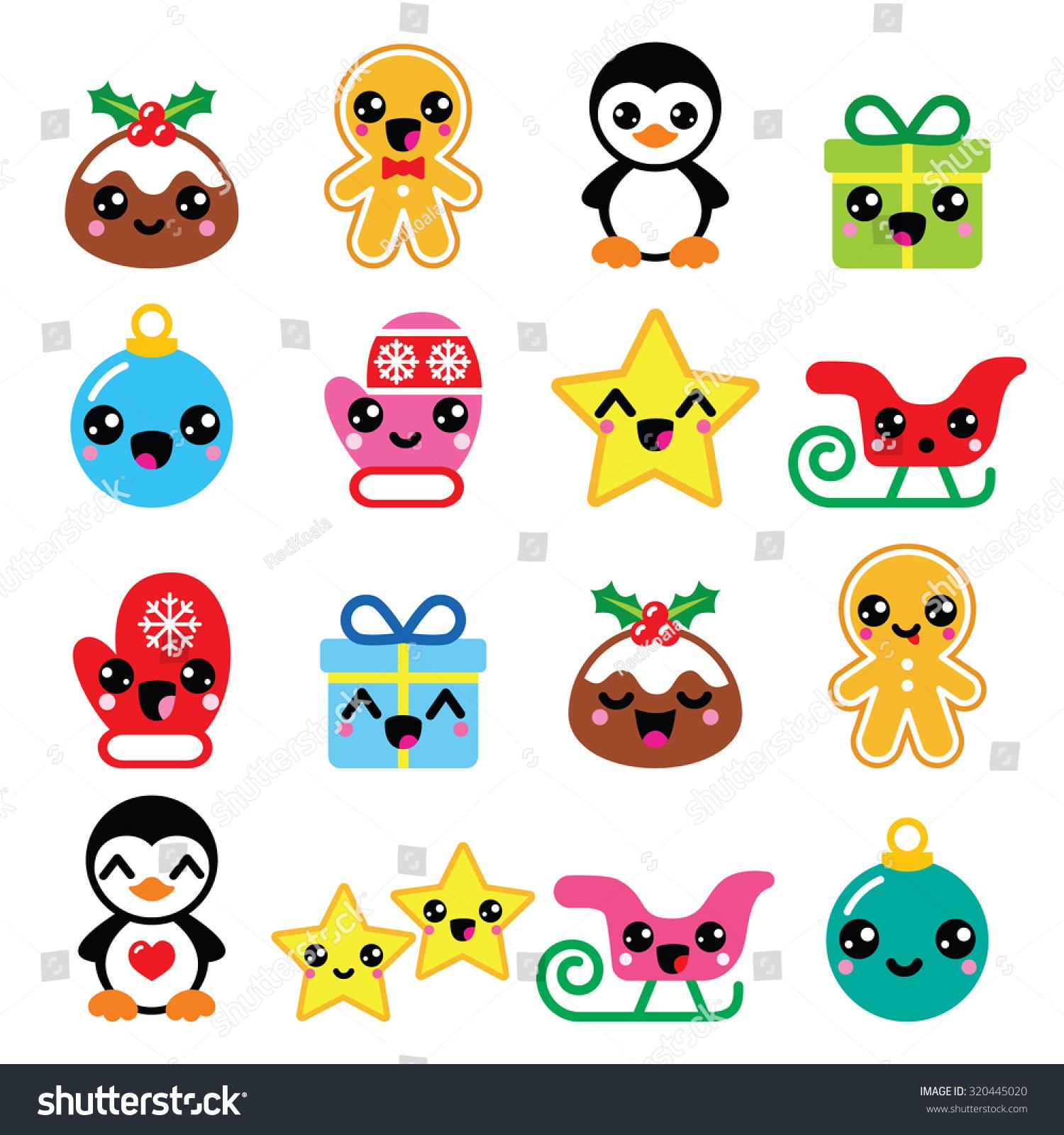 Christmas Kawaii Icons Pudding Penguin Stock
