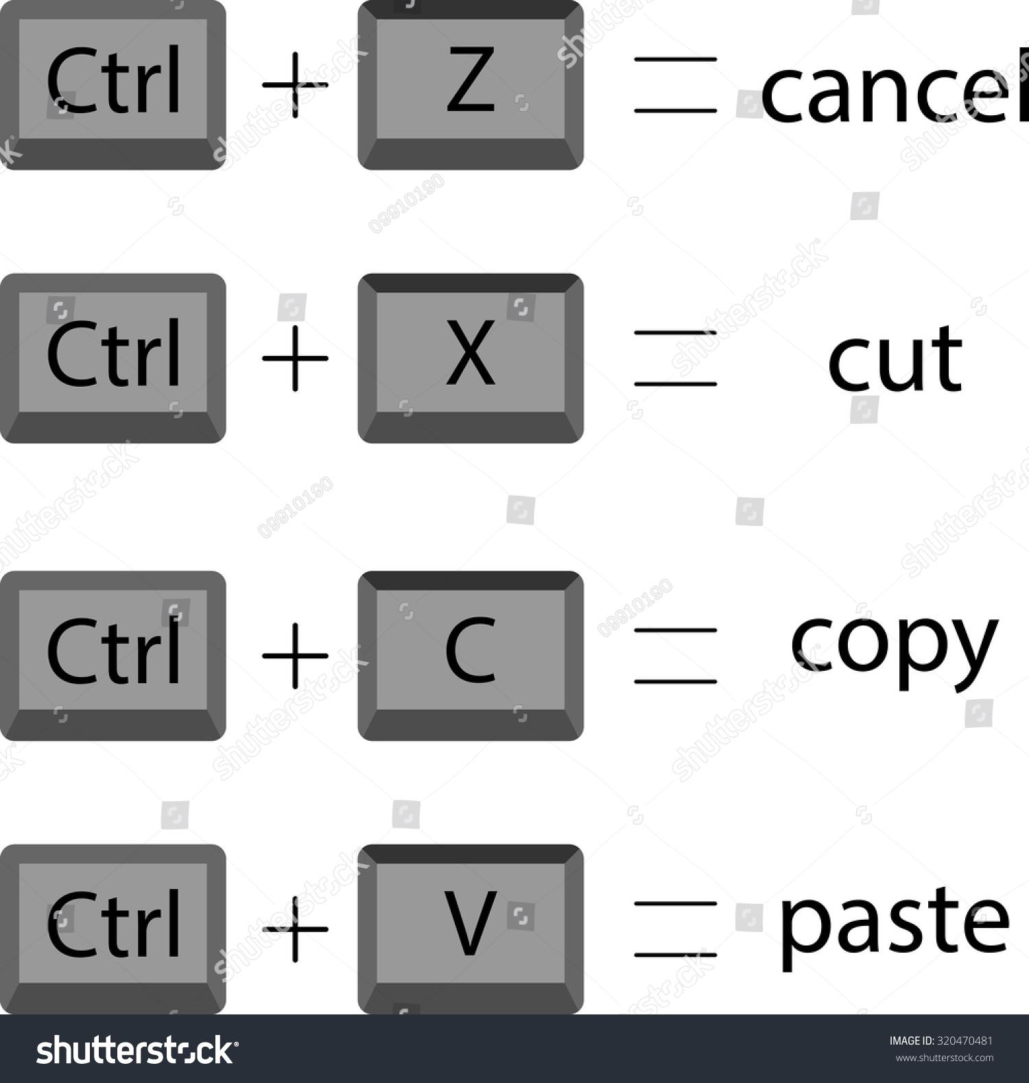 Set keyboard shortcuts cut copy paste stock vector 320470481 set keyboard shortcuts to cut copy paste cancel vector graphic illustration buycottarizona Choice Image