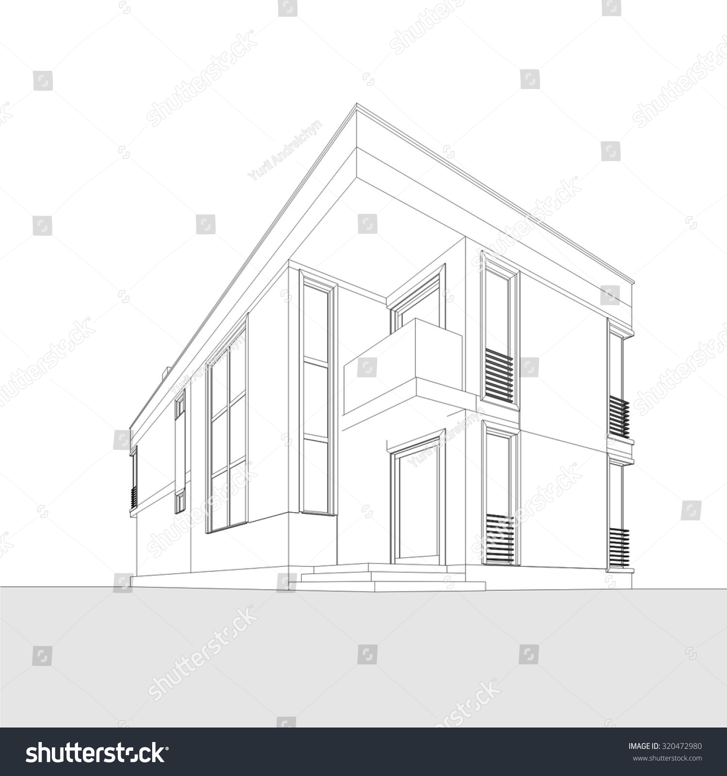Architecture Building Geometric Background Stock Vector