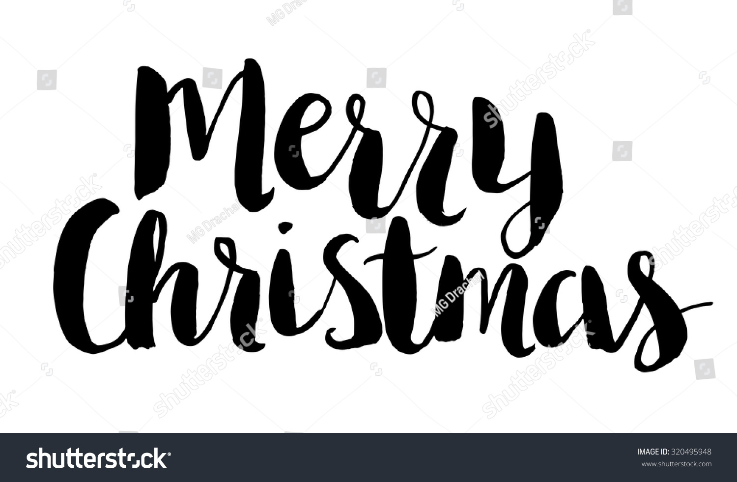 Merry christmas text brush script vector hand lettering